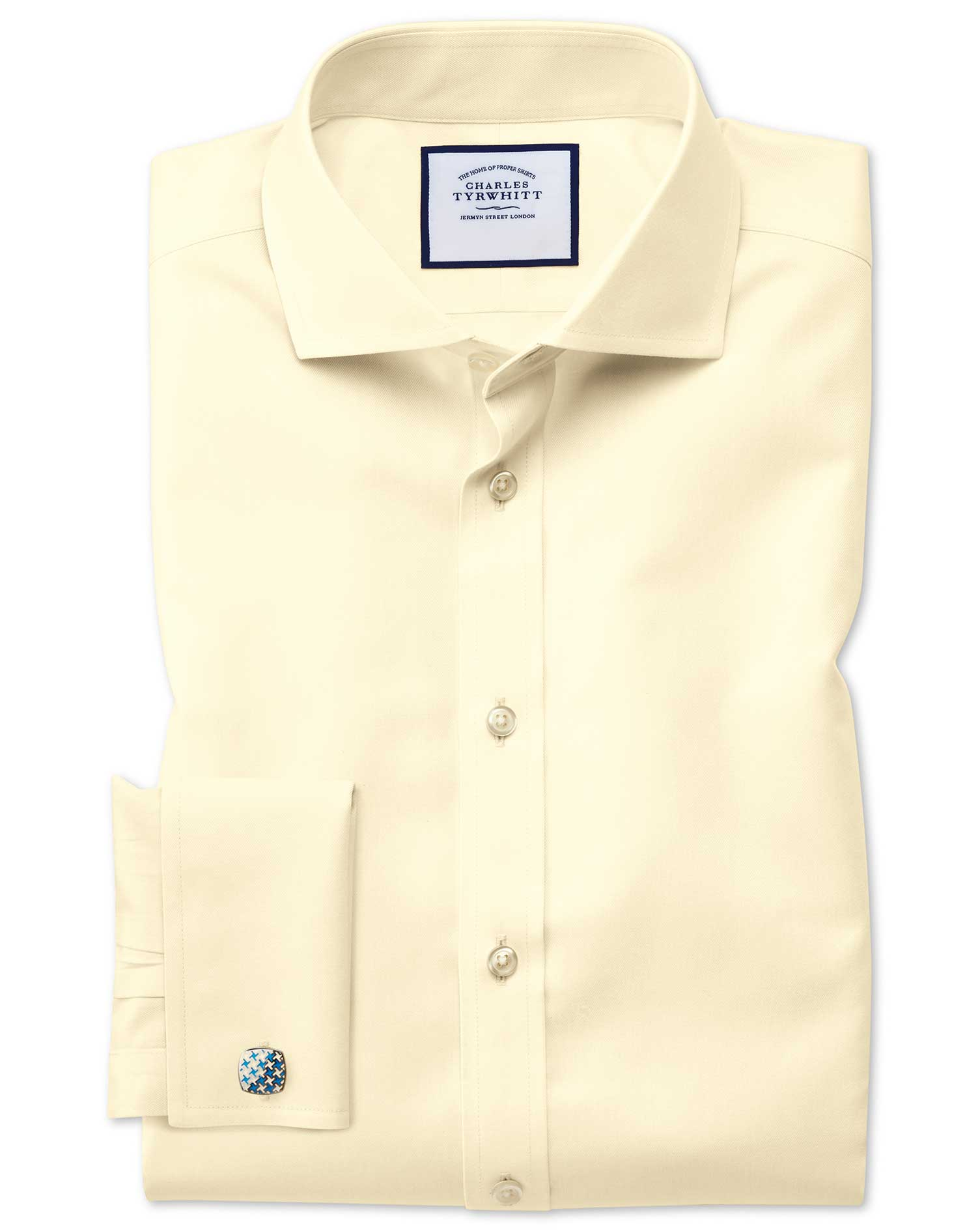 Slim Fit Cutaway Collar Non-Iron Twill Yellow Cotton Formal Shirt Double Cuff Size 16.5/33 by Charle