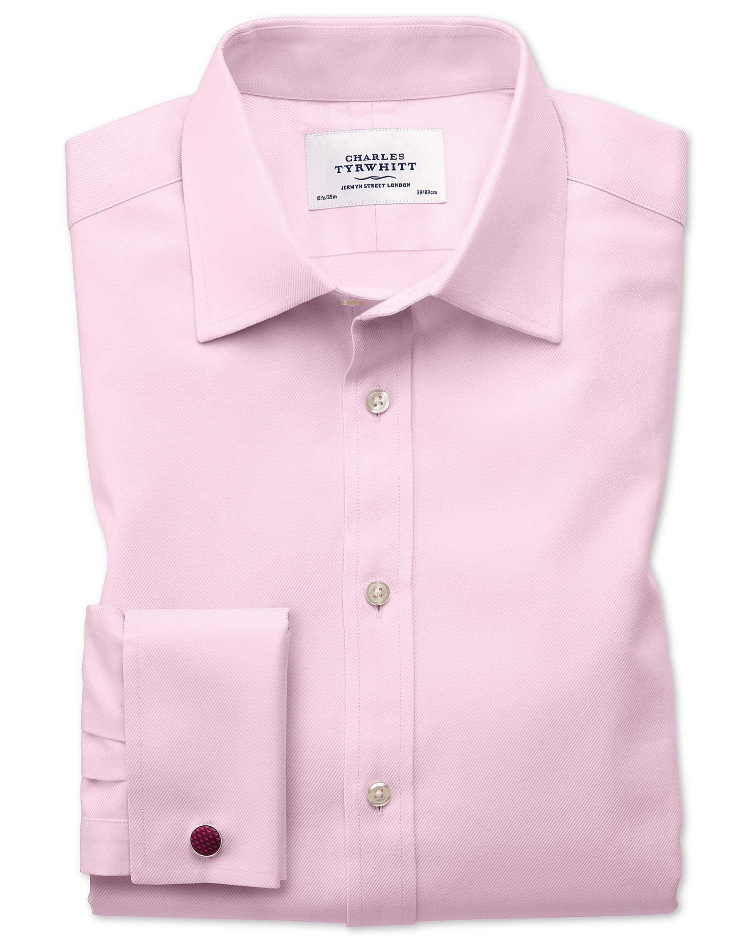 Extra Slim Fit Egyptian Cotton Cavalry Twill Light Pink Formal Shirt Double Cuff Size 16.5/33 by Cha