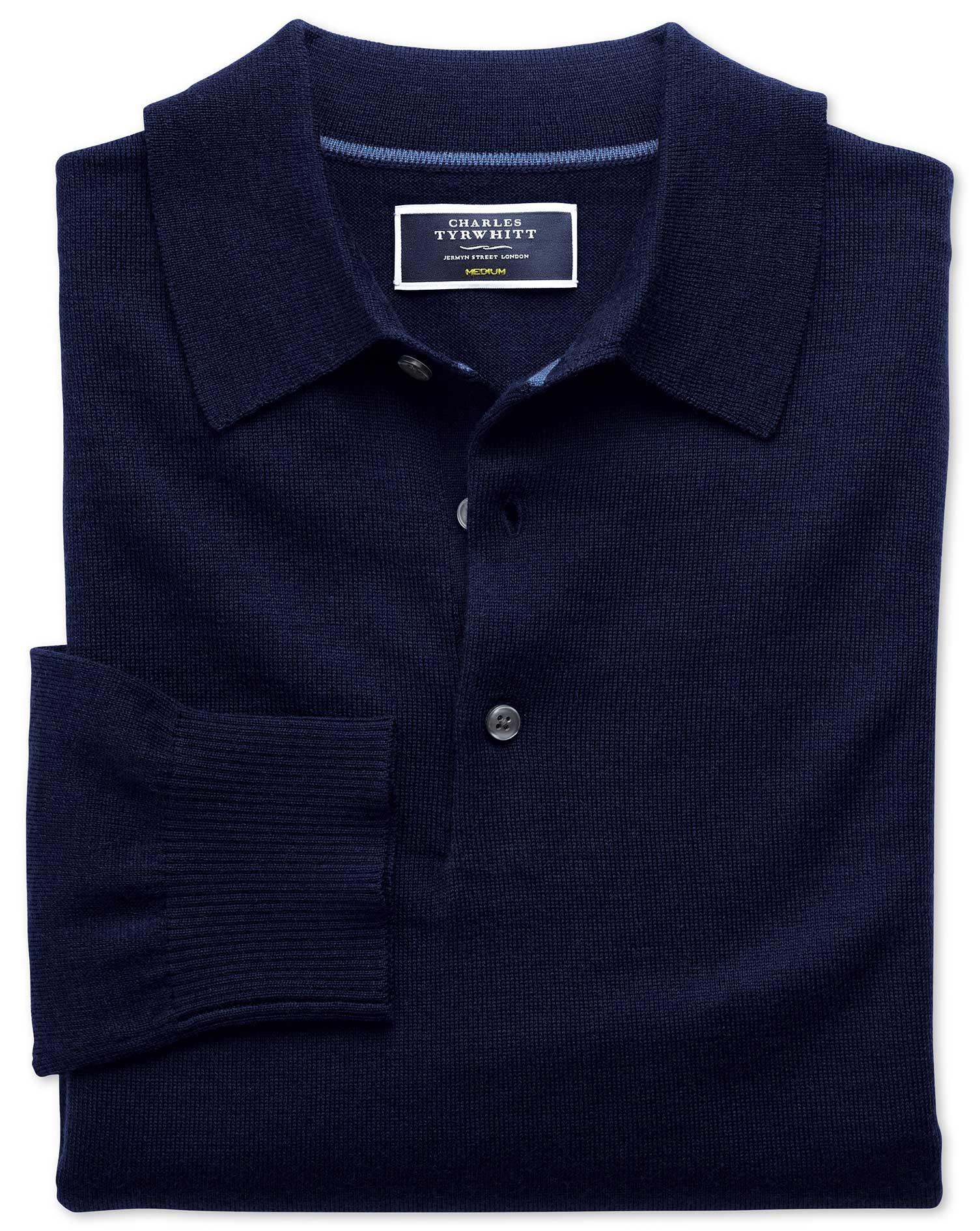 Navy Merino Wool Polo Neck Jumper Size XL by Charles Tyrwhitt