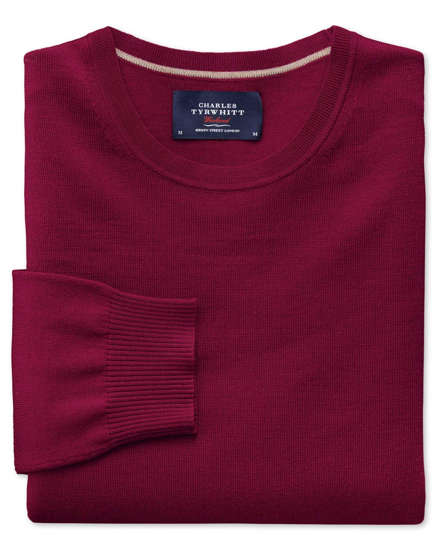Dark Red Merino Wool Crew Neck Jumper Size XXL by Charles Tyrwhitt
