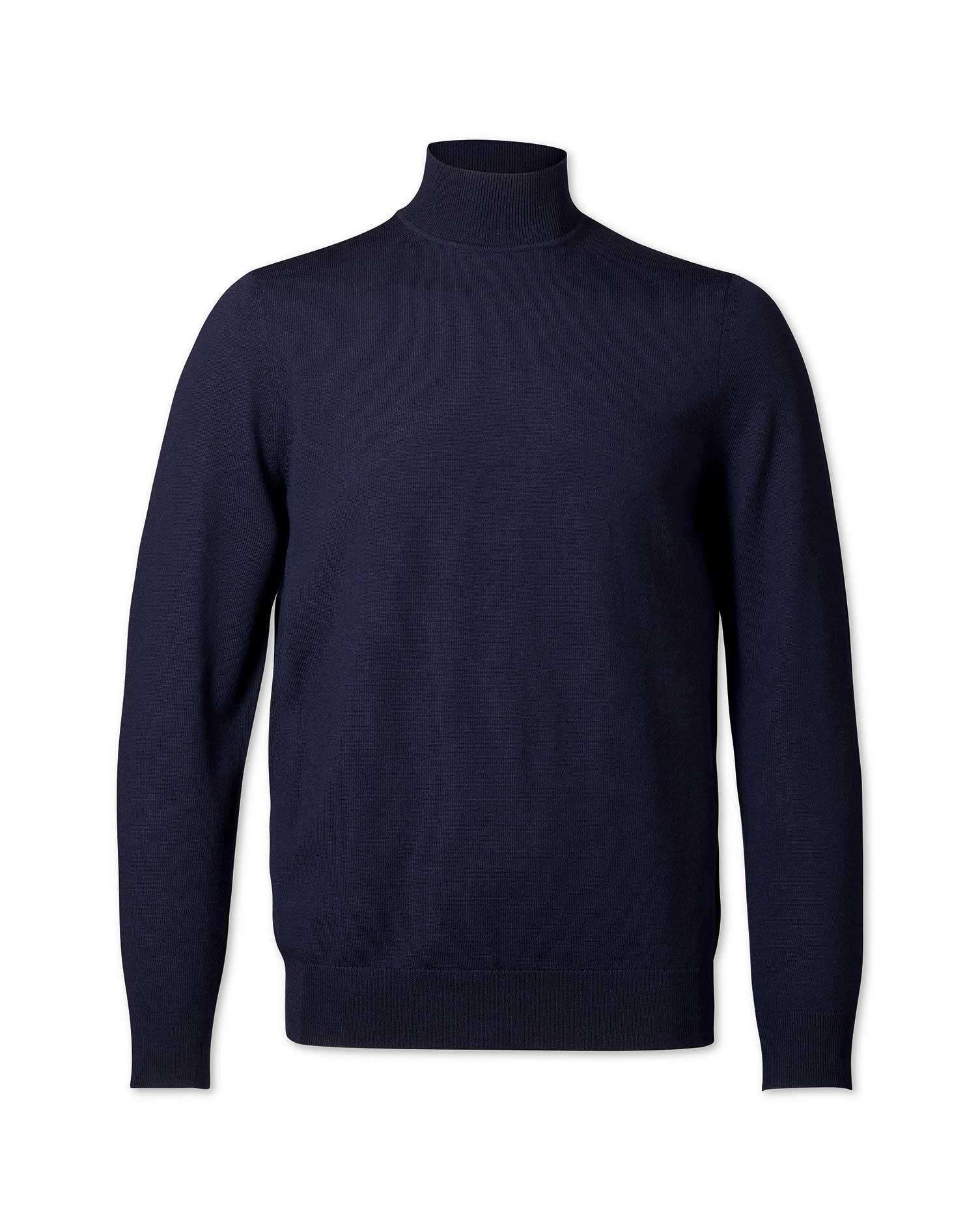 Navy Turtleneck Merino Wool Jumper Size Medium by Charles Tyrwhitt