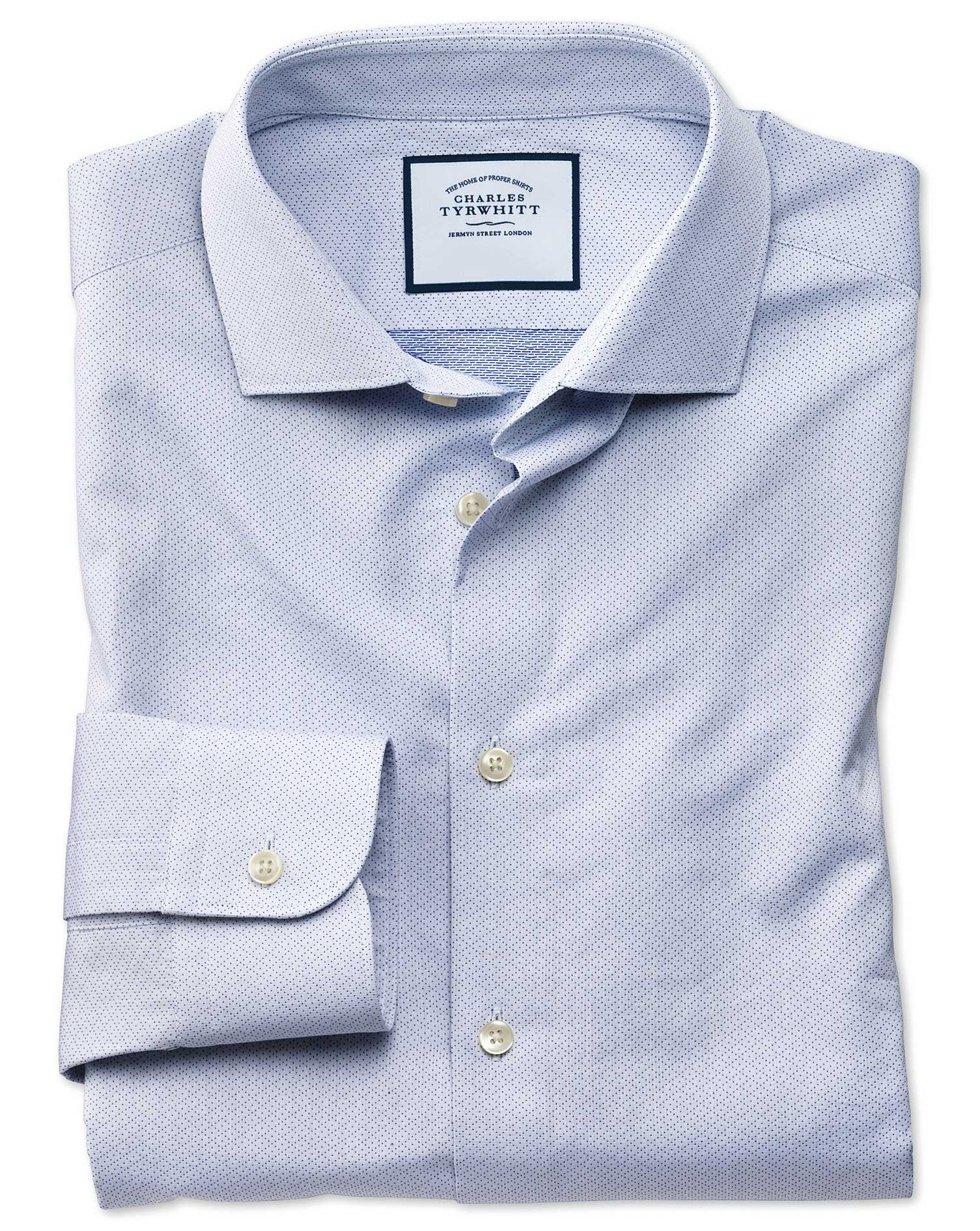 Classic Fit Business Casual Blue Diamond Dobby Egyptian Cotton Formal Shirt Single Cuff Size 16.5/33