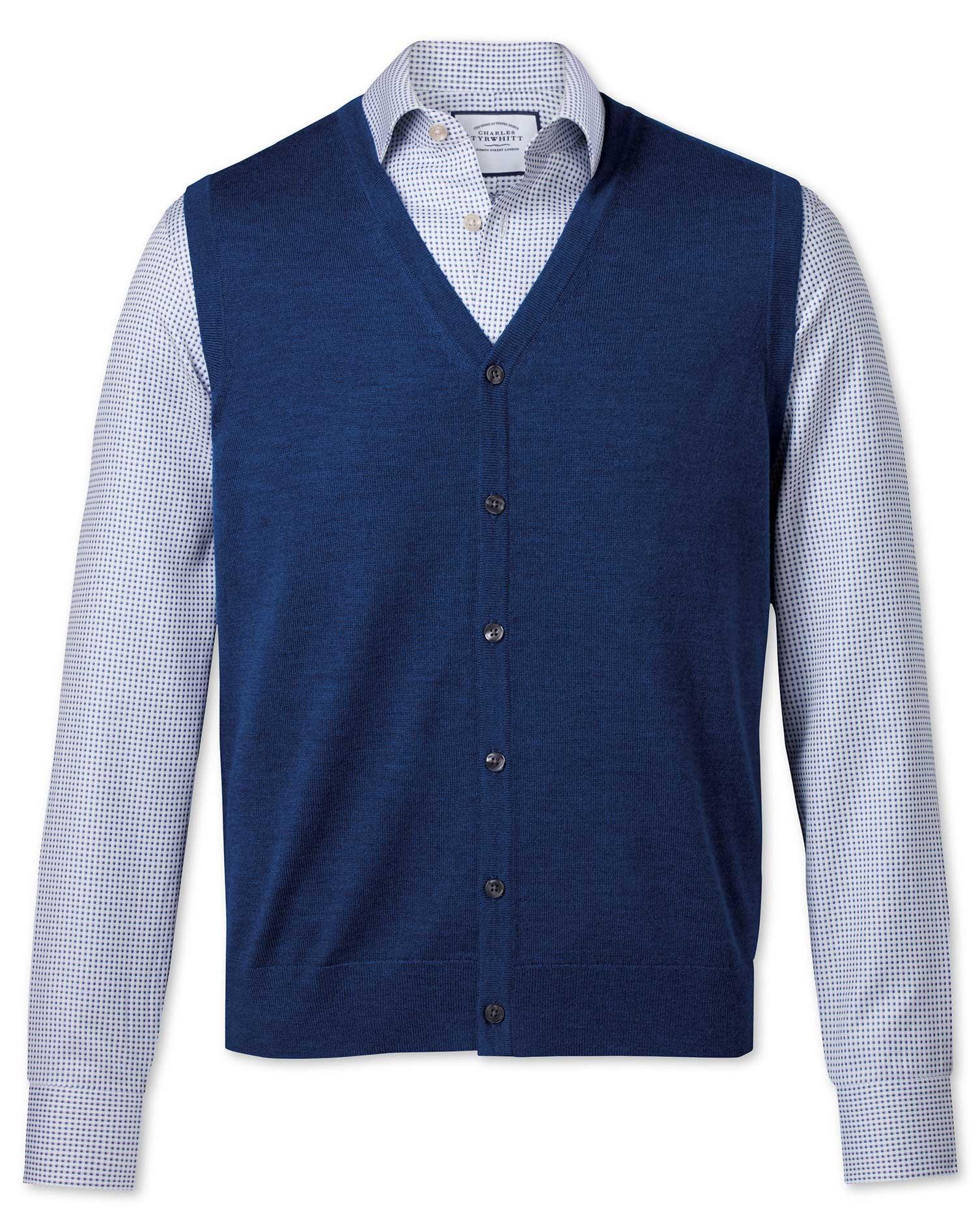 100Percent Merino Wool Royal Blue Merino Waistcoat