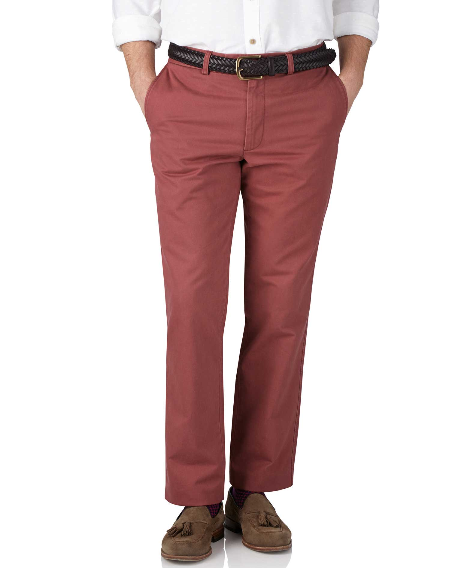 Light Red Slim Fit Flat Front Weekend Cotton Chino Trousers Size W30 L29 by Charles Tyrwhitt