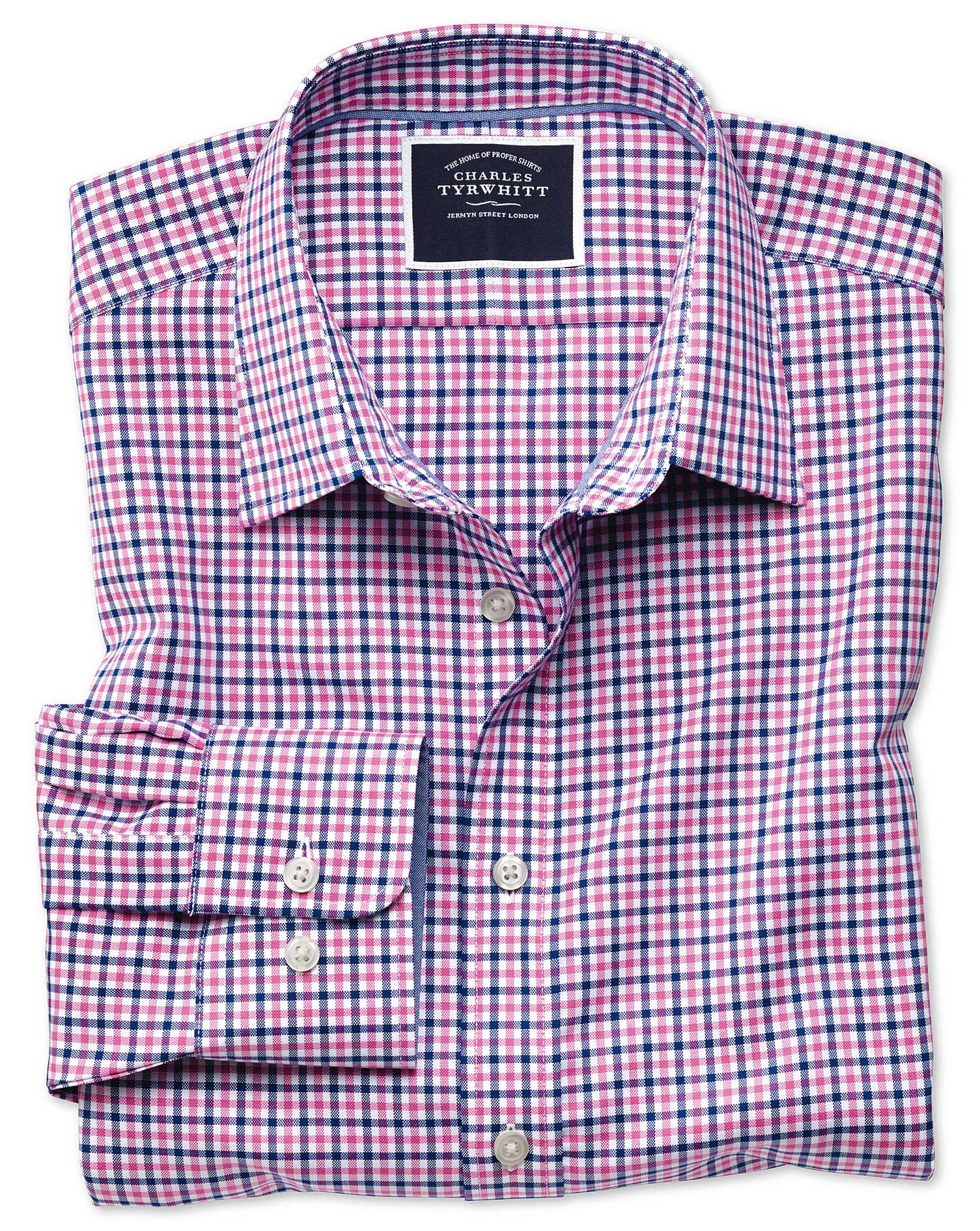 Extra Slim Fit Non-Iron Pink and Navy Gingham Oxford Cotton Shirt Single Cuff Size XXL by Charles Ty