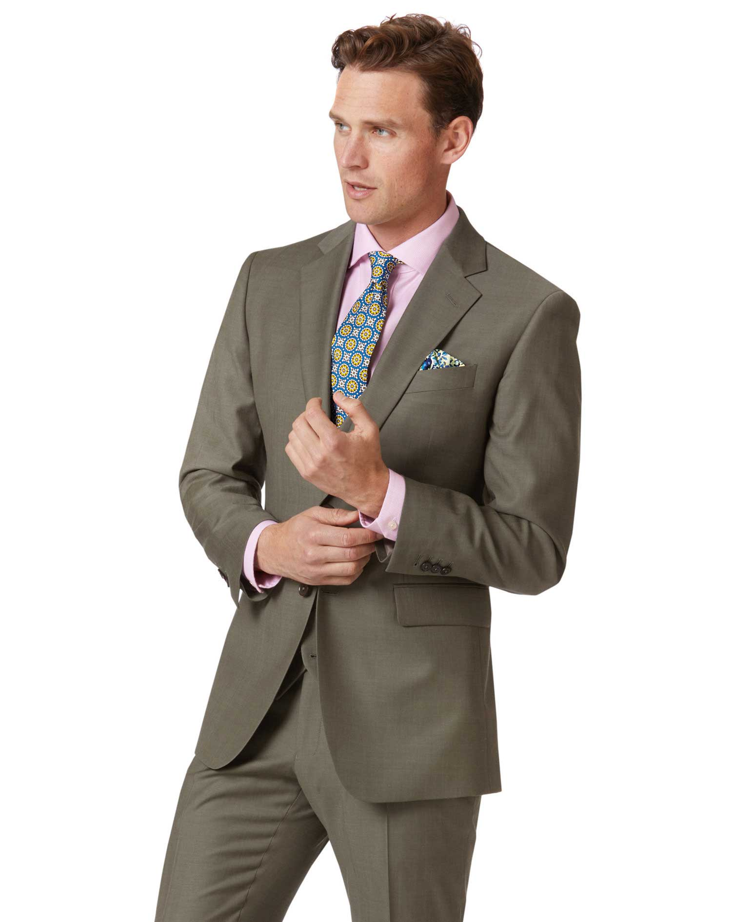 Olive Slim Fit Twill Business Suit Wool Jacket Size 40 Regular by Charles Tyrwhitt
