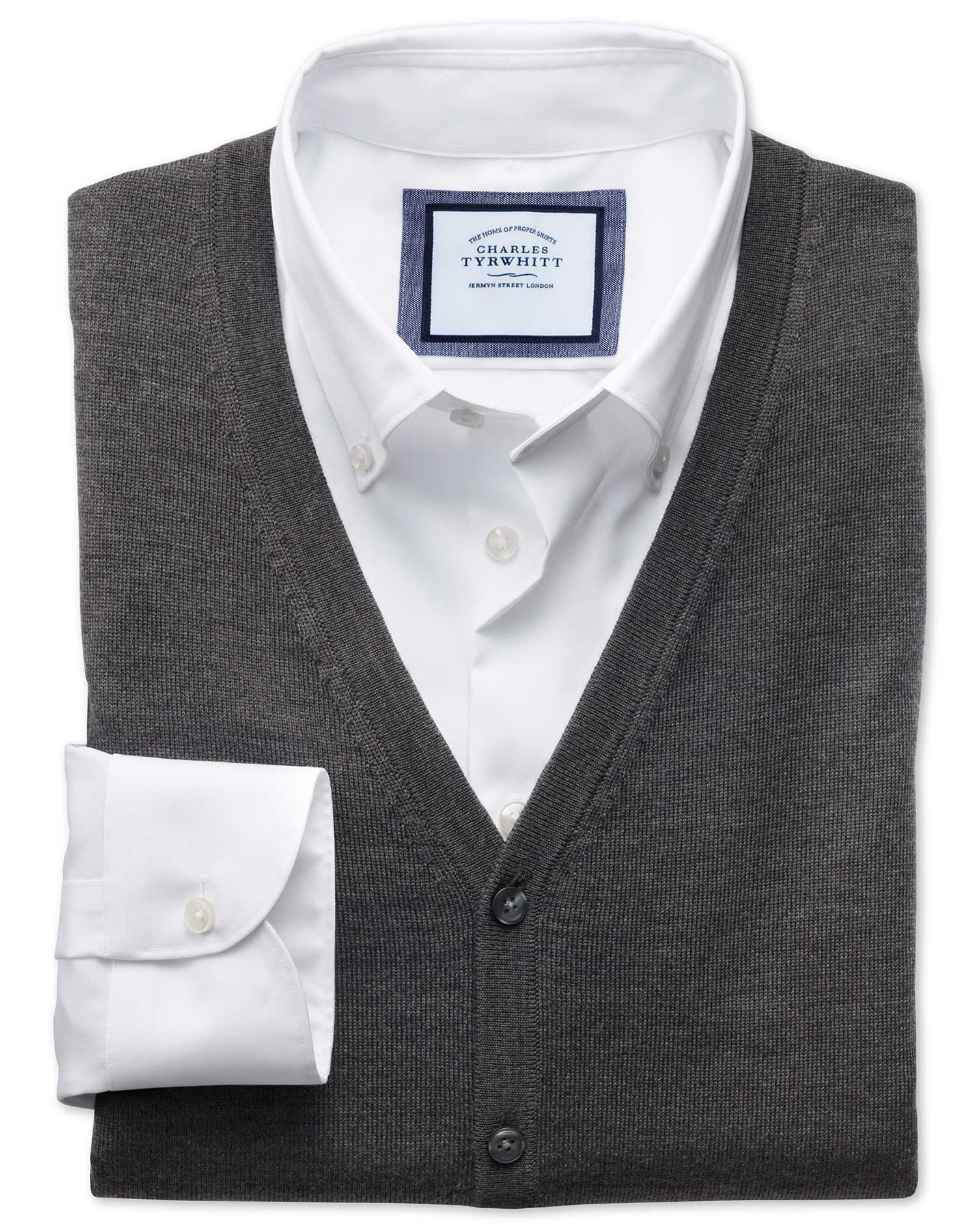 Charcoal Merino Wool Waistcoat Size Large by Charles Tyrwhitt