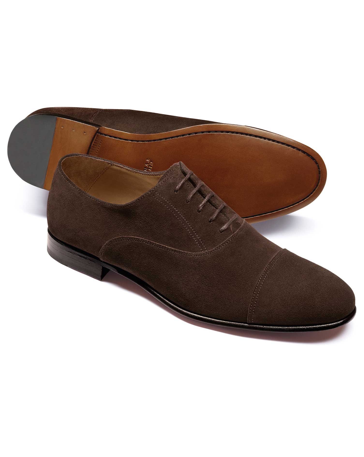 Chocolate Suede Oxford Shoe Size 9.5 R by Charles Tyrwhitt