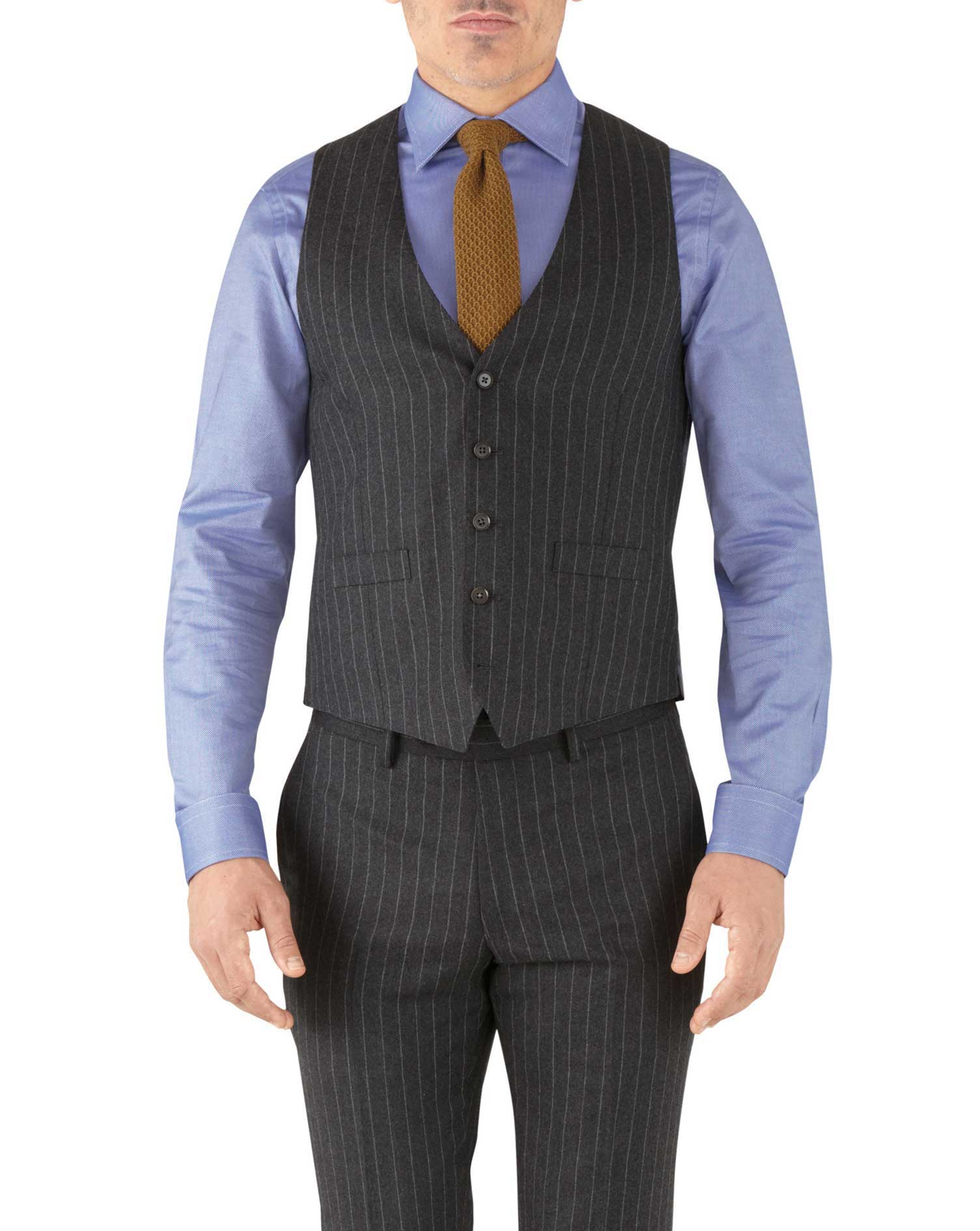 Charcoal Stripe Adjustable Fit Flannel Business Suit Wool Waistcoat Size w40 by Charles Tyrwhitt