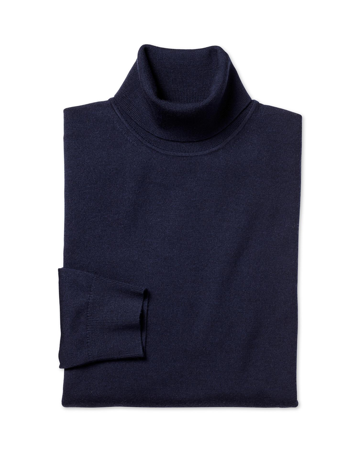 Navy Merino Wool Roll Neck Jumper Size Large by Charles Tyrwhitt