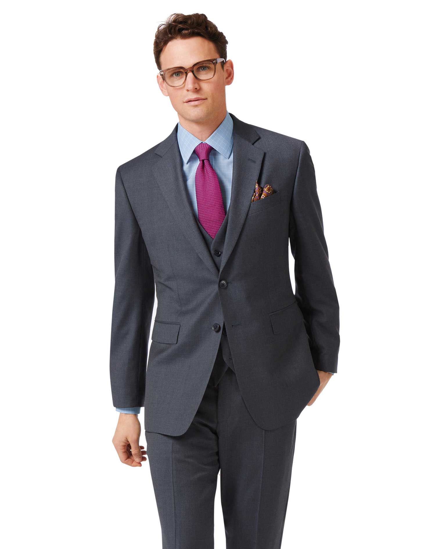 Steel Blue Classic Fit Twill Business Suit Wool Jacket Size 40 Long by Charles Tyrwhitt