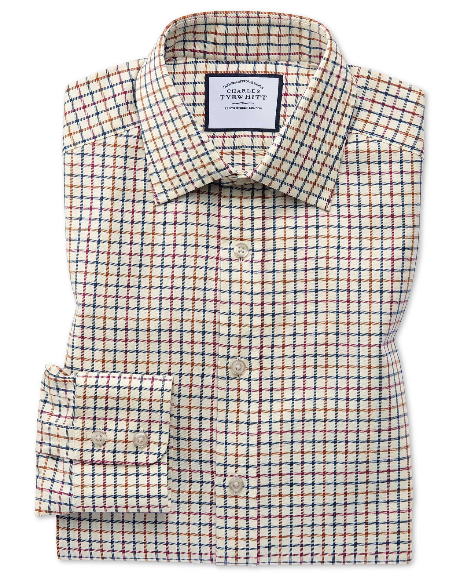 Slim Fit Navy and Berry Country Check Cotton Formal Shirt Single Cuff Size 17.5/36 by Charles Tyrwhi