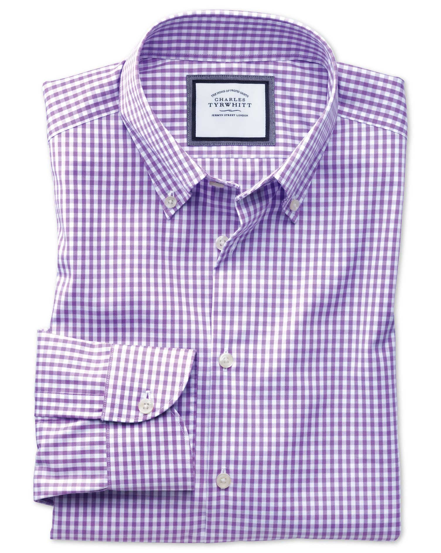 Extra Slim Fit Button-Down Business Casual Non-Iron Lilac Cotton Formal Shirt Single Cuff Size 16/35