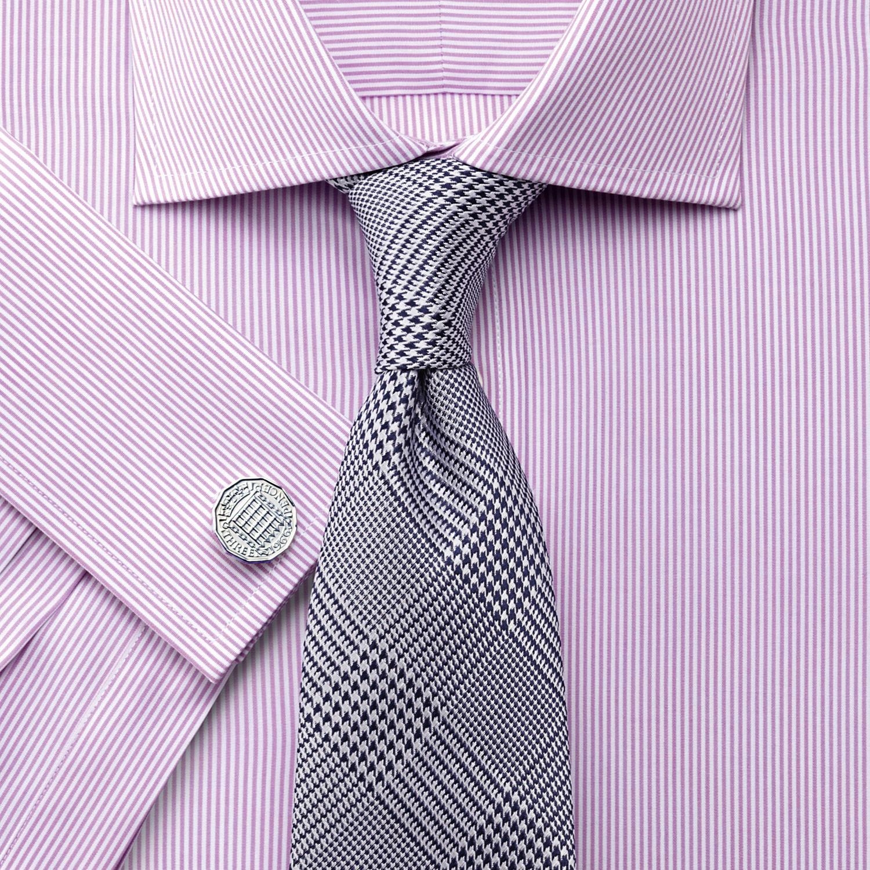 Classic Fit Semi-Cutaway Collar Egyptian Cotton Bengal Stripe Pink Formal Shirt Single Cuff Size 15/