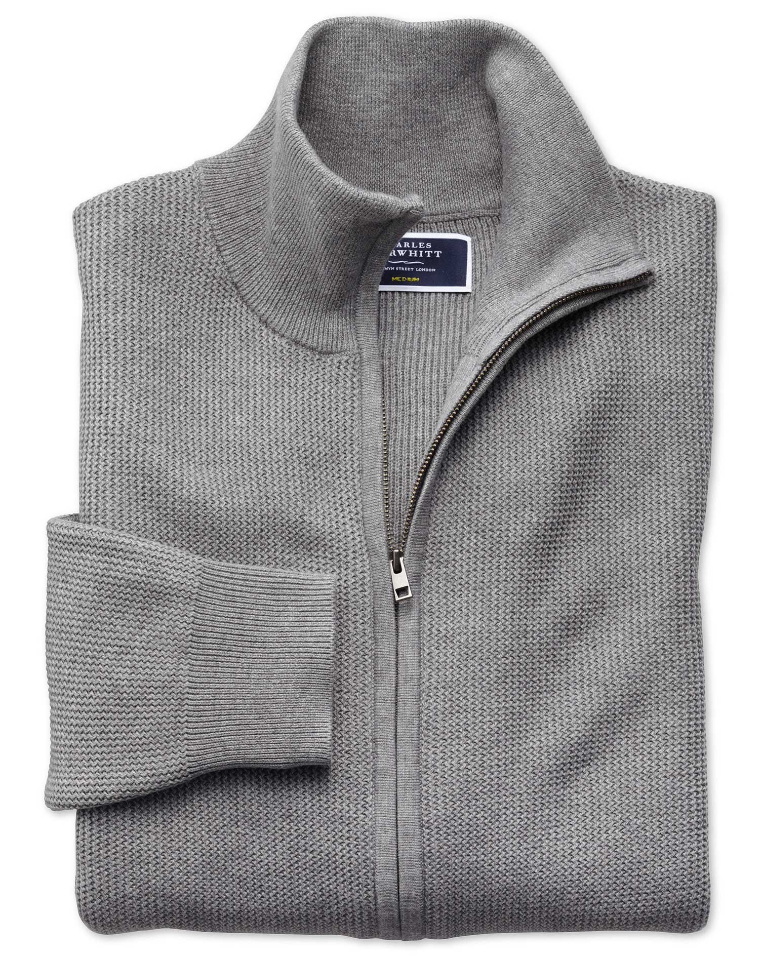 Silver Pima Cotton Textured Zip Through Cardigan Size Small by Charles Tyrwhitt