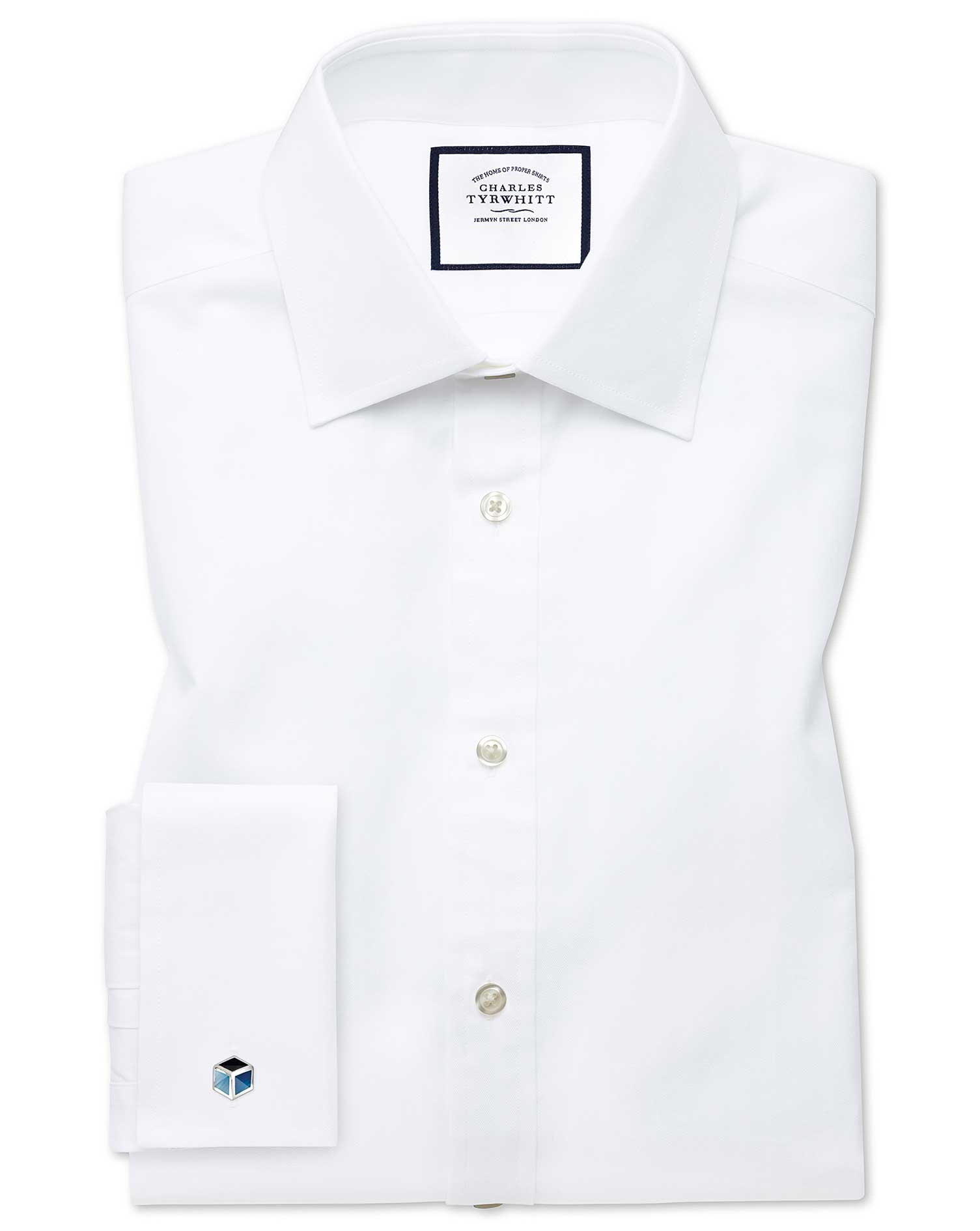 Classic Fit Fine Herringbone White Cotton Formal Shirt Single Cuff Size 16/38 by Charles Tyrwhitt