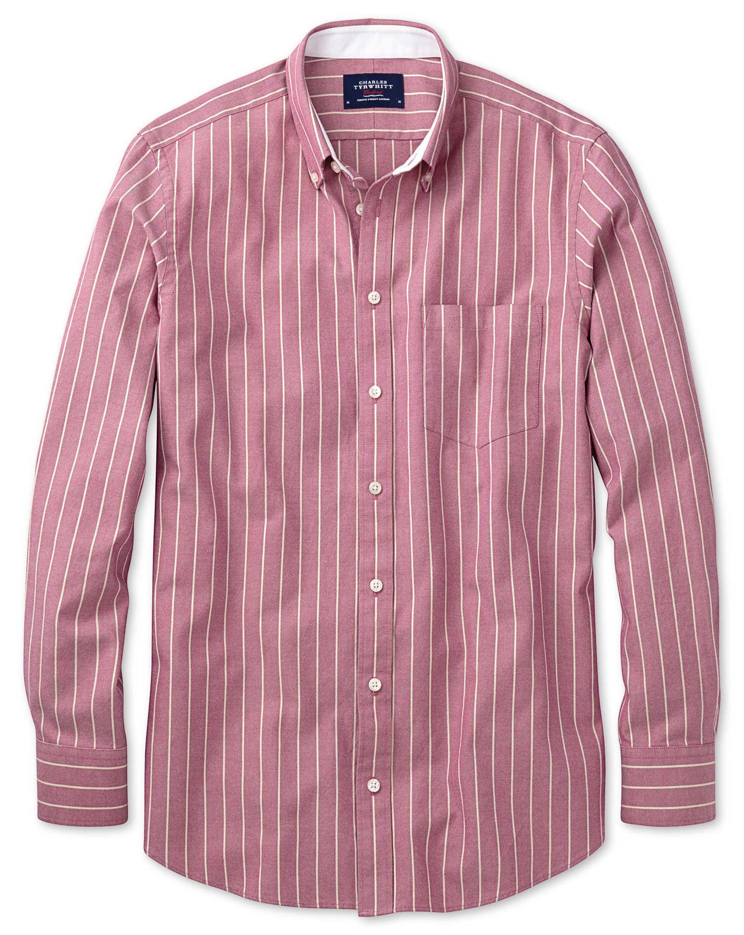 Extra Slim Fit Magenta Stripe Washed Oxford Cotton Shirt Single Cuff Size Medium by Charles Tyrwhitt