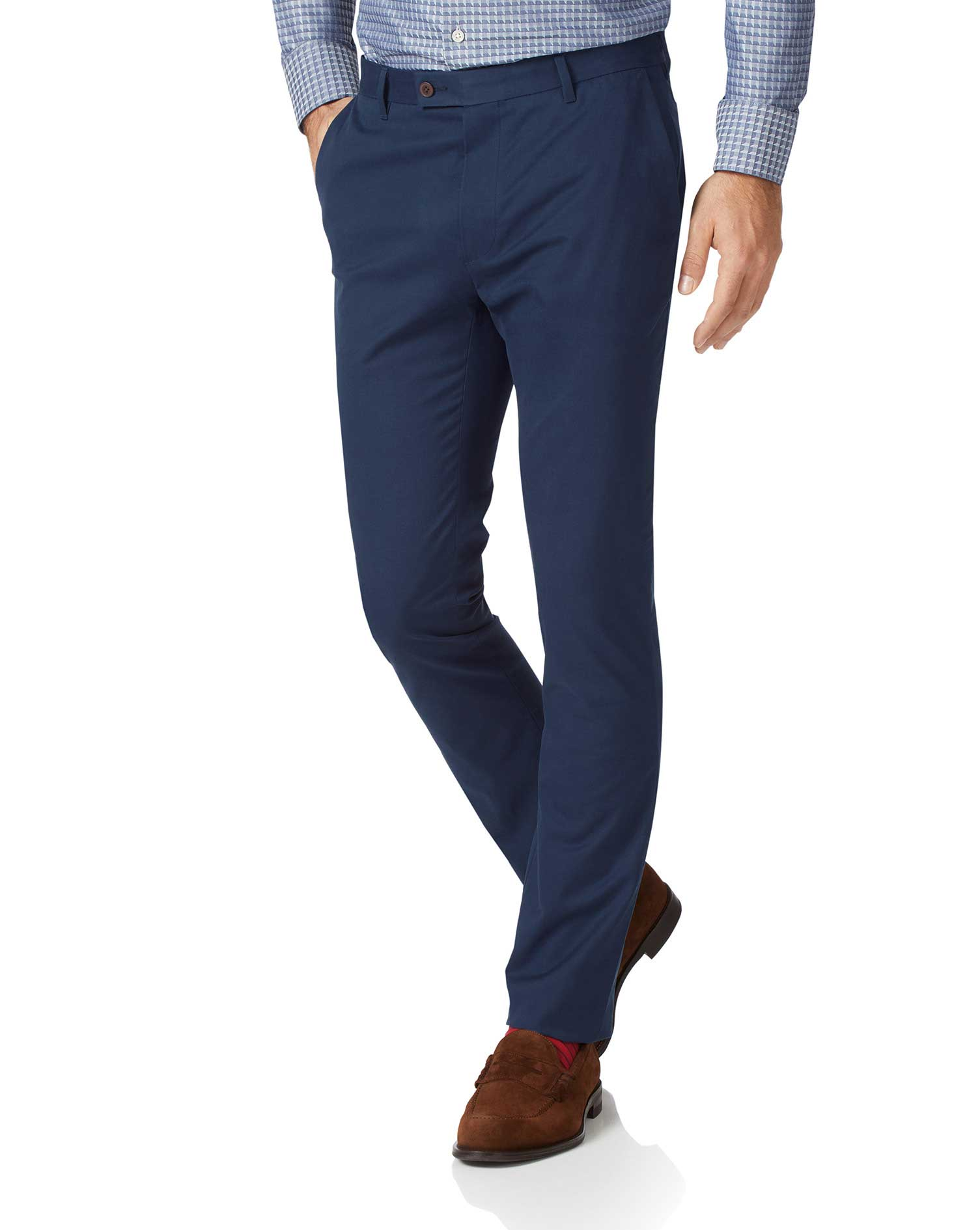 Dark Blue Extra Slim Fit Stretch Cotton Chino Trousers Size W36 L30 by Charles Tyrwhitt