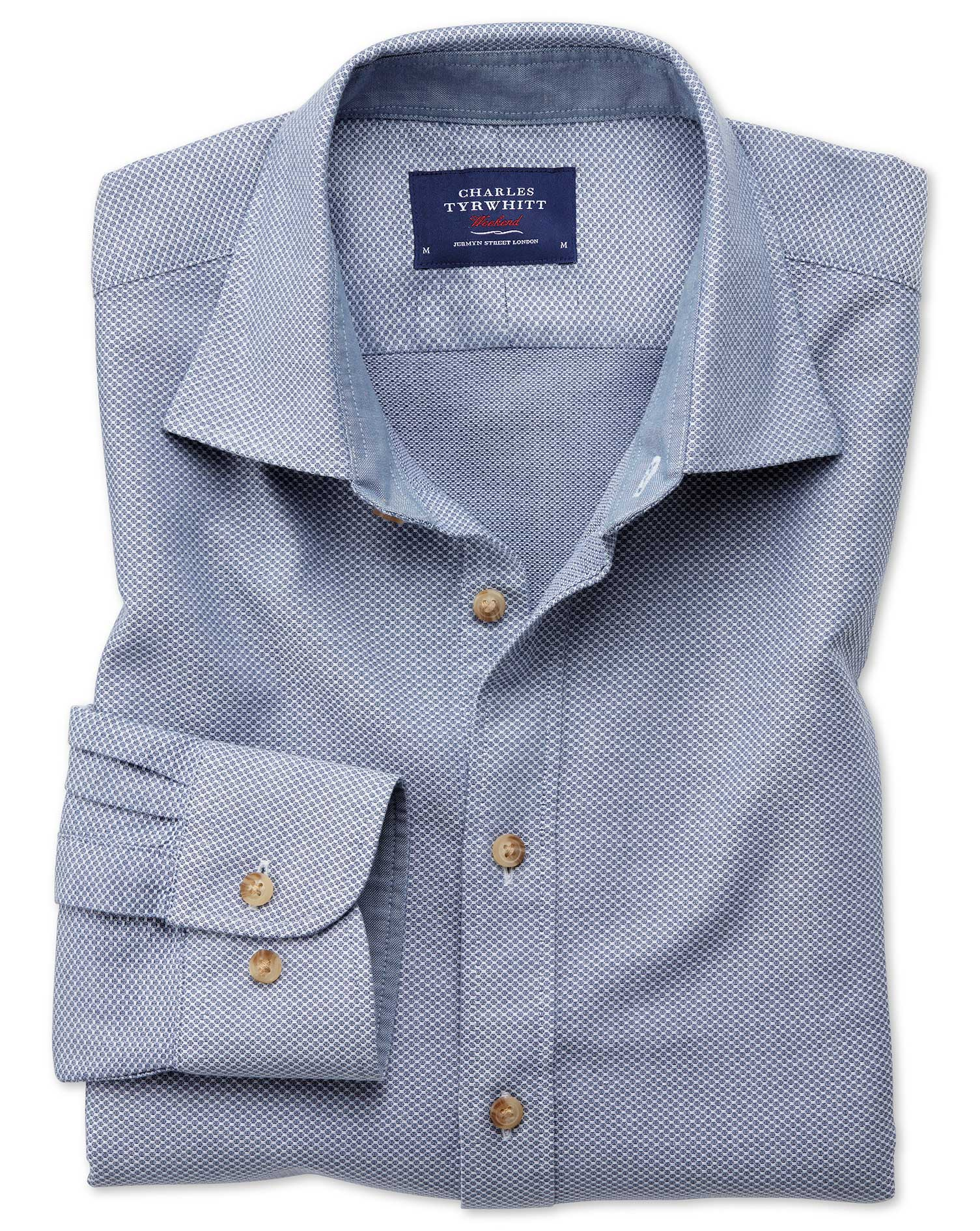 Classic Fit Washed Textured Denim Blue Shirt Charles