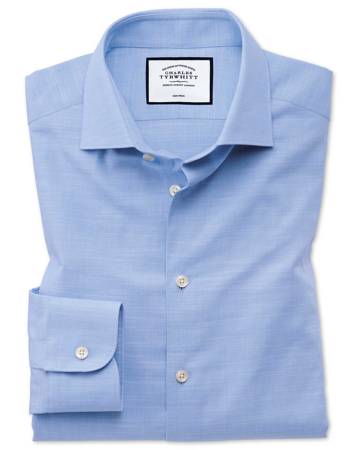 Slim Fit Business Casual Egyptian Cotton Slub Sky Blue Formal Shirt Single Cuff Size 17.5/35 by Char