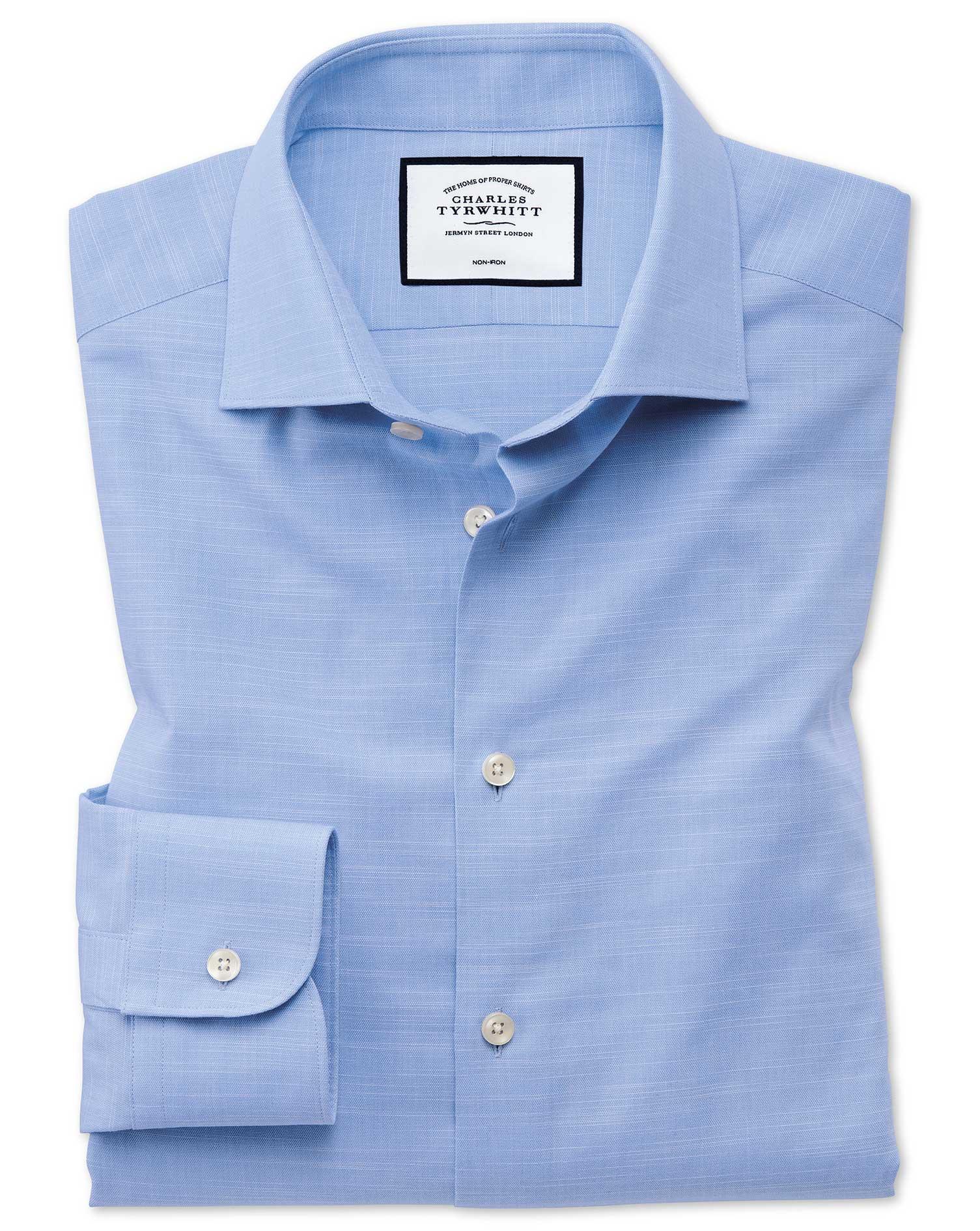 Slim Fit Business Casual Egyptian Cotton Slub Sky Blue Formal Shirt Single Cuff Size 14.5/33 by Char