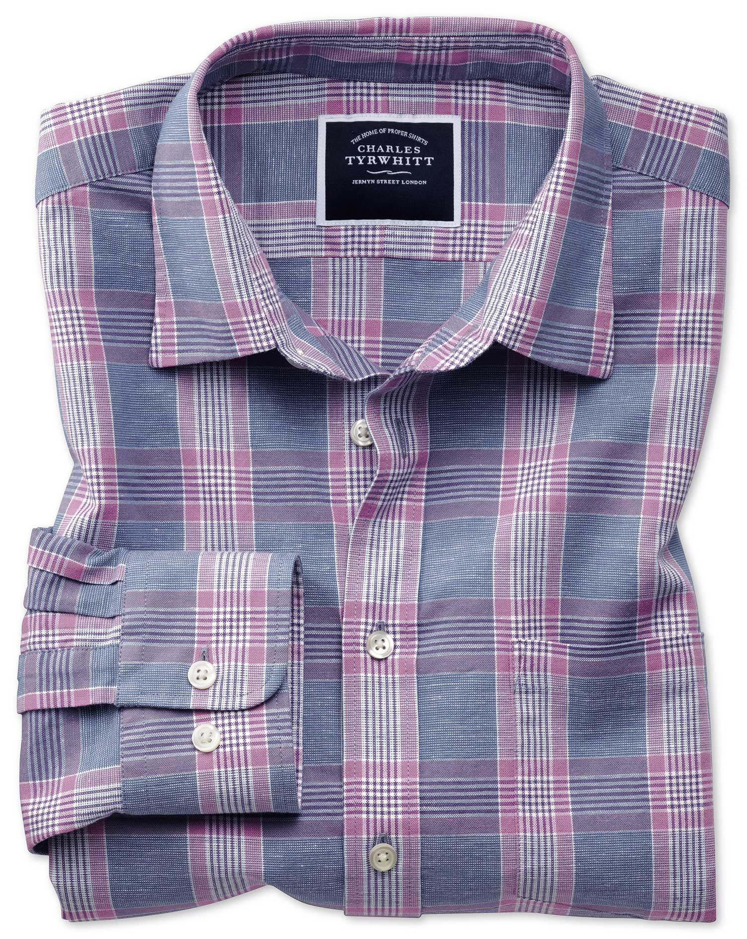 Slim Fit Cotton Linen Blue and Purple Check Shirt Single Cuff Size Small by Charles Tyrwhitt