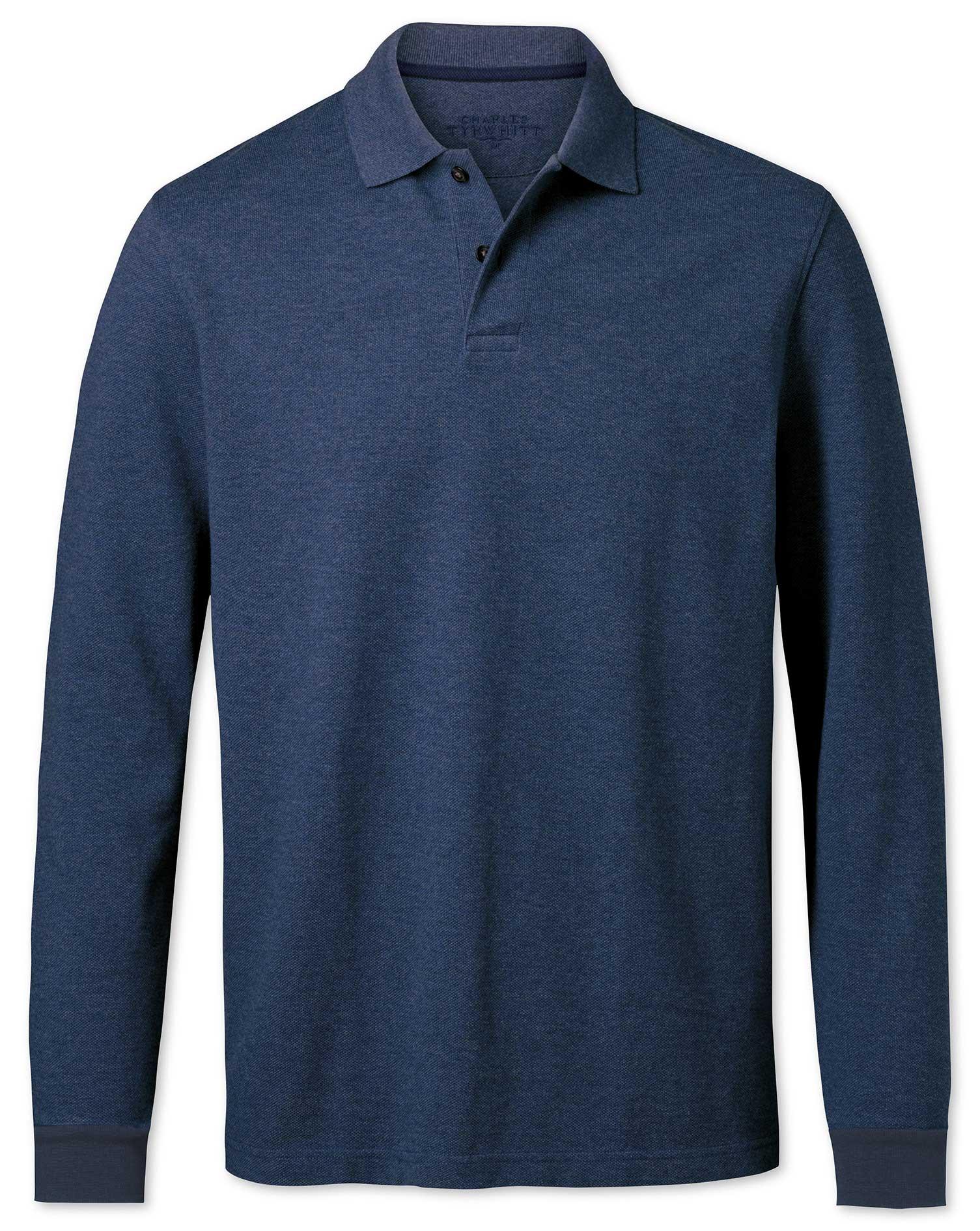 Indigo Melange Pique Long Sleeve Cotton Polo Size XXXL by Charles Tyrwhitt