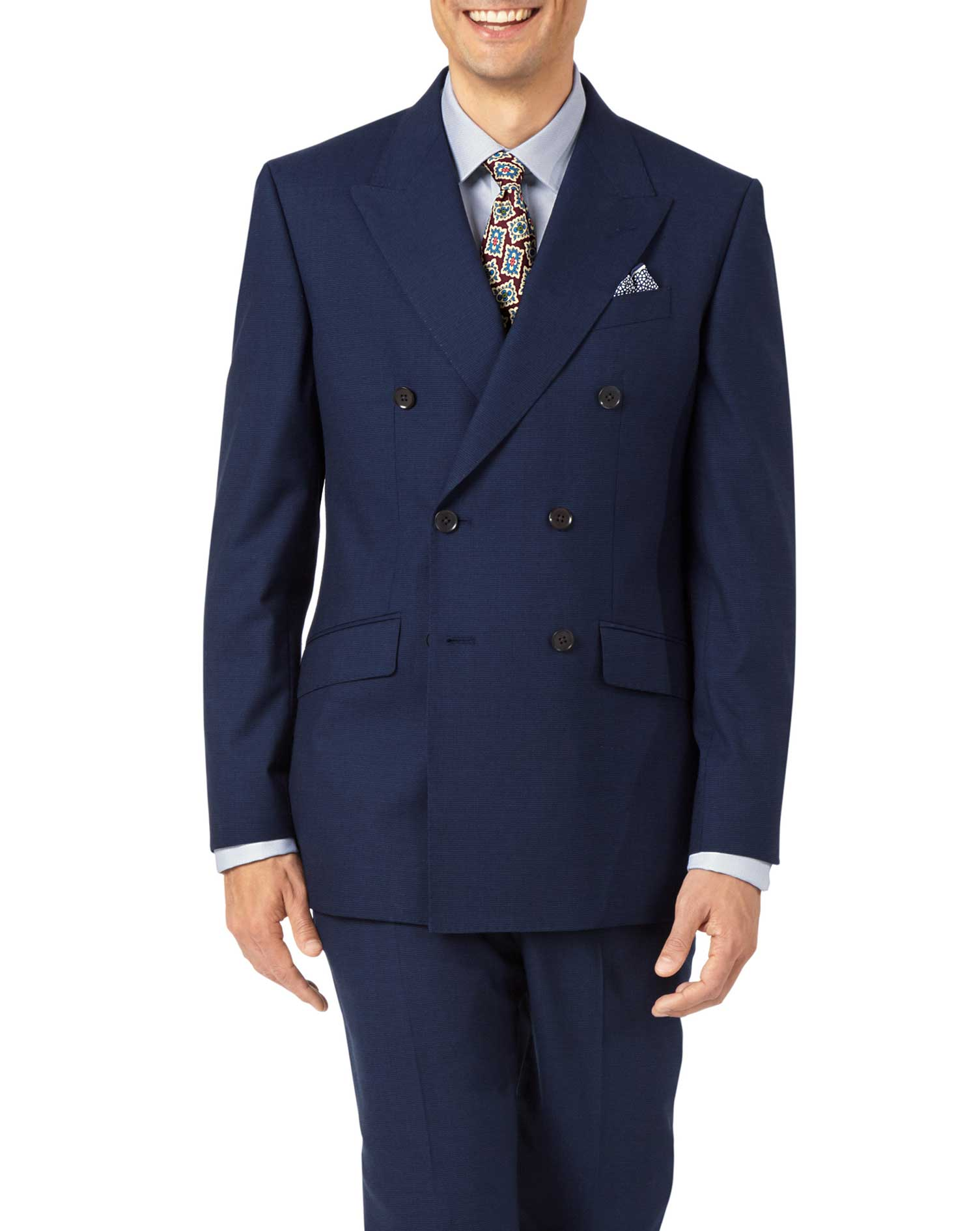 Indigo Slim Fit Panama Puppytooth Business Suit Wool Jacket Size 42 Short by Charles Tyrwhitt