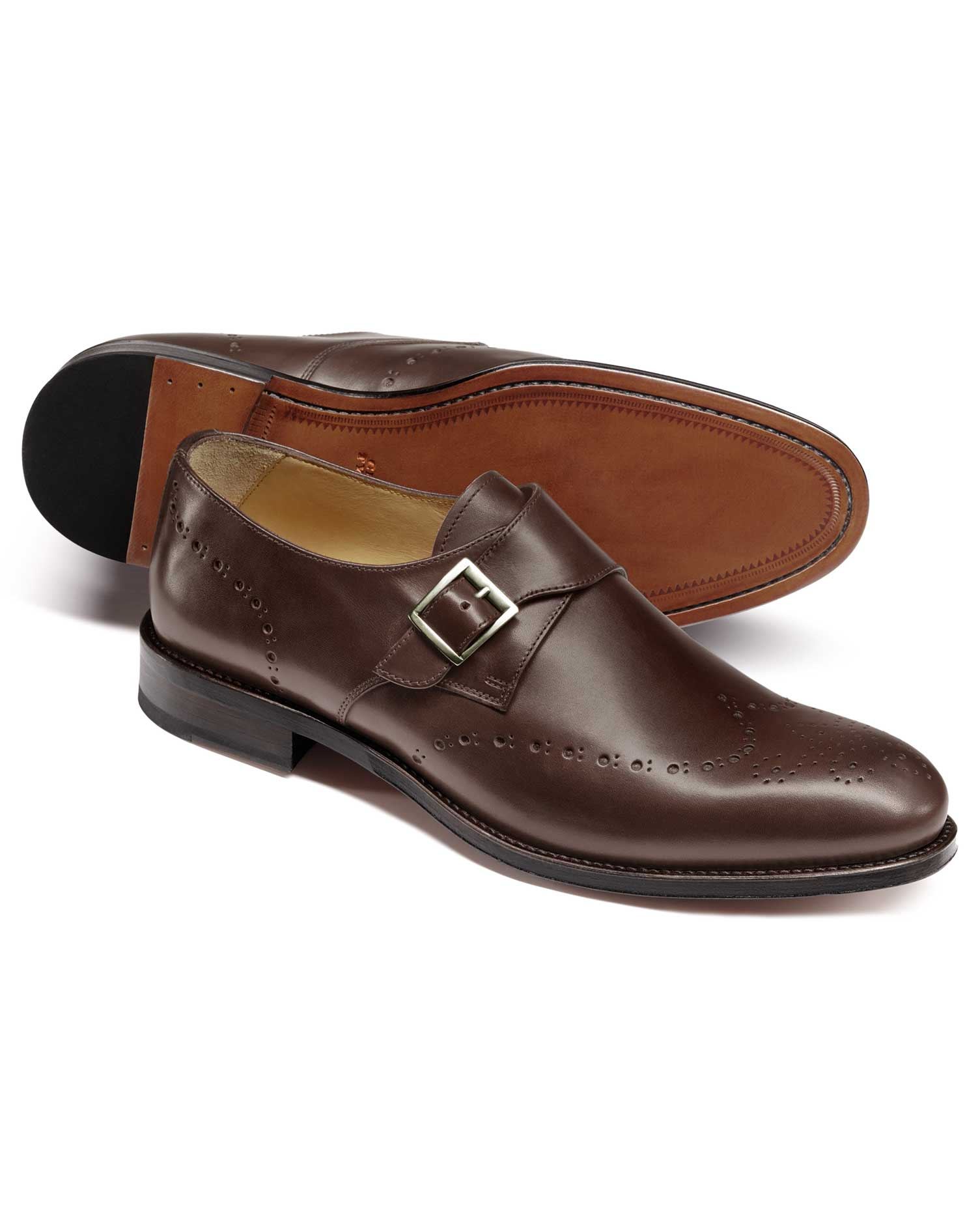 Chocolate Brogue Monk Shoes Size 8 R by Charles Tyrwhitt