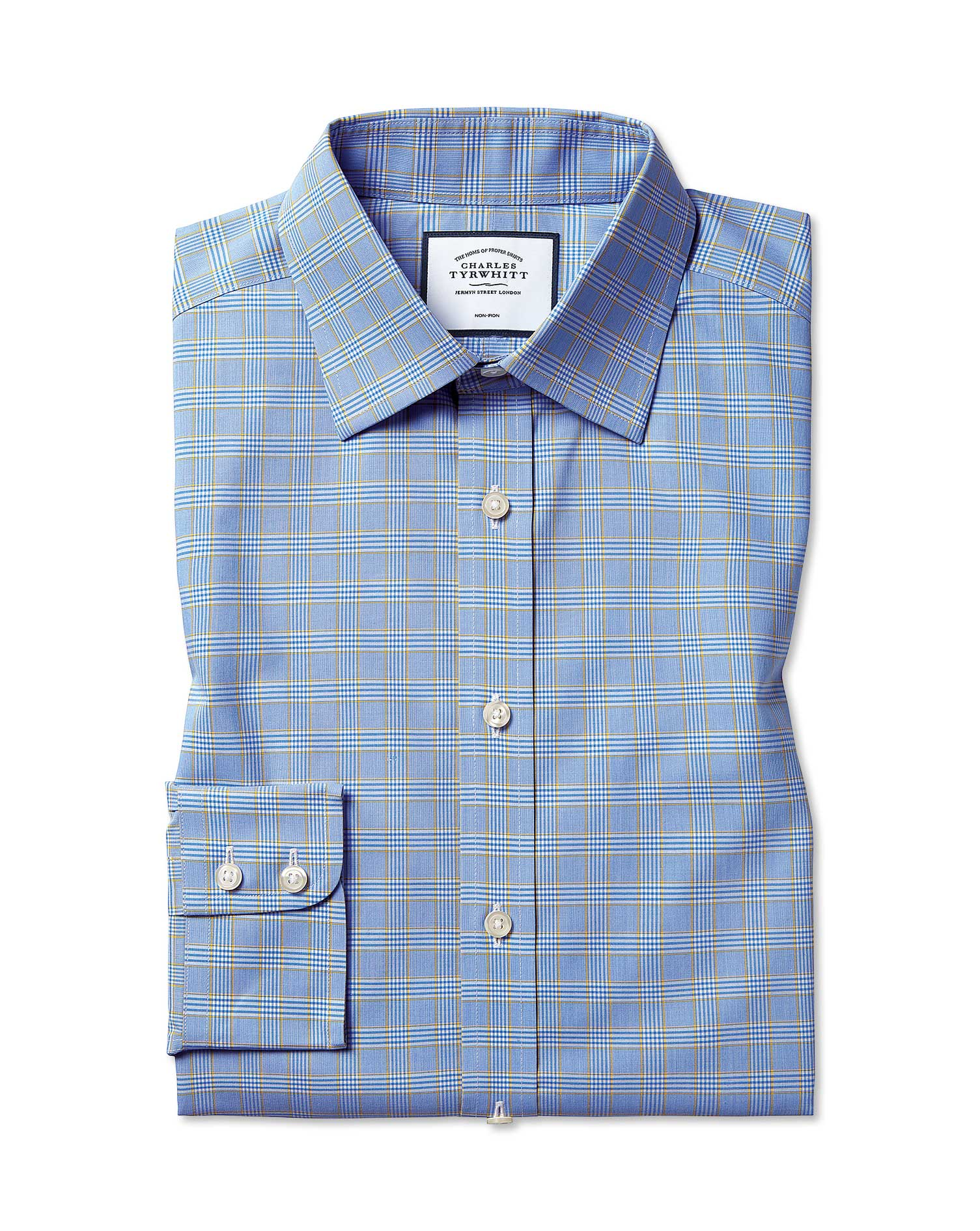 Extra Slim Fit Non-Iron Blue and Gold Prince Of Wales Check Cotton Formal Shirt Single Cuff Size 16/