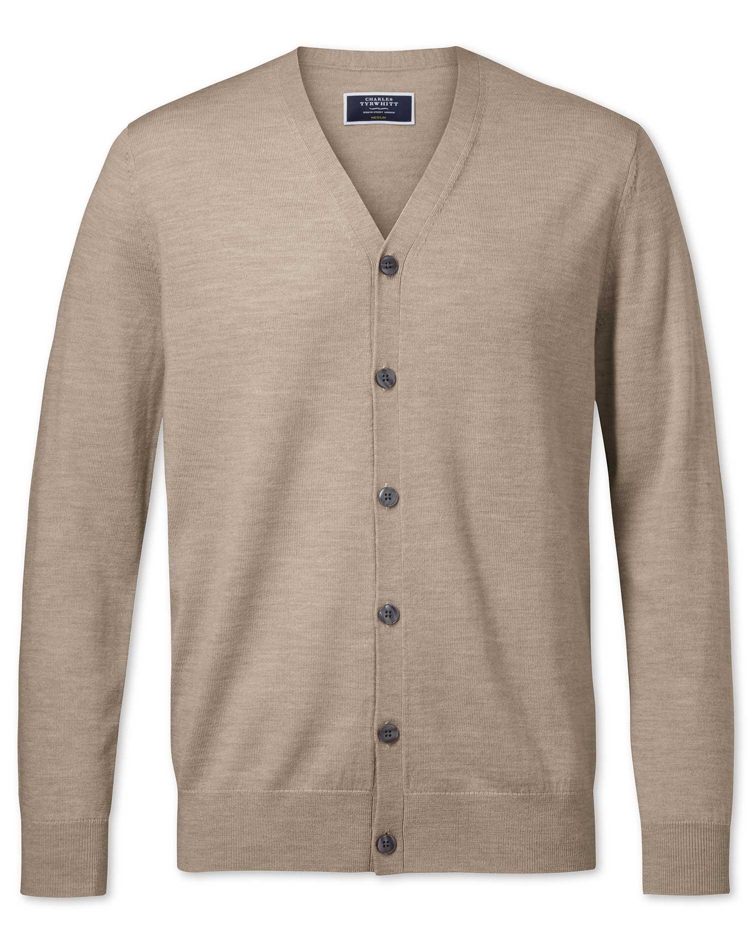 Stone Merino Merino Wool Cardigan Size XS by Charles Tyrwhitt