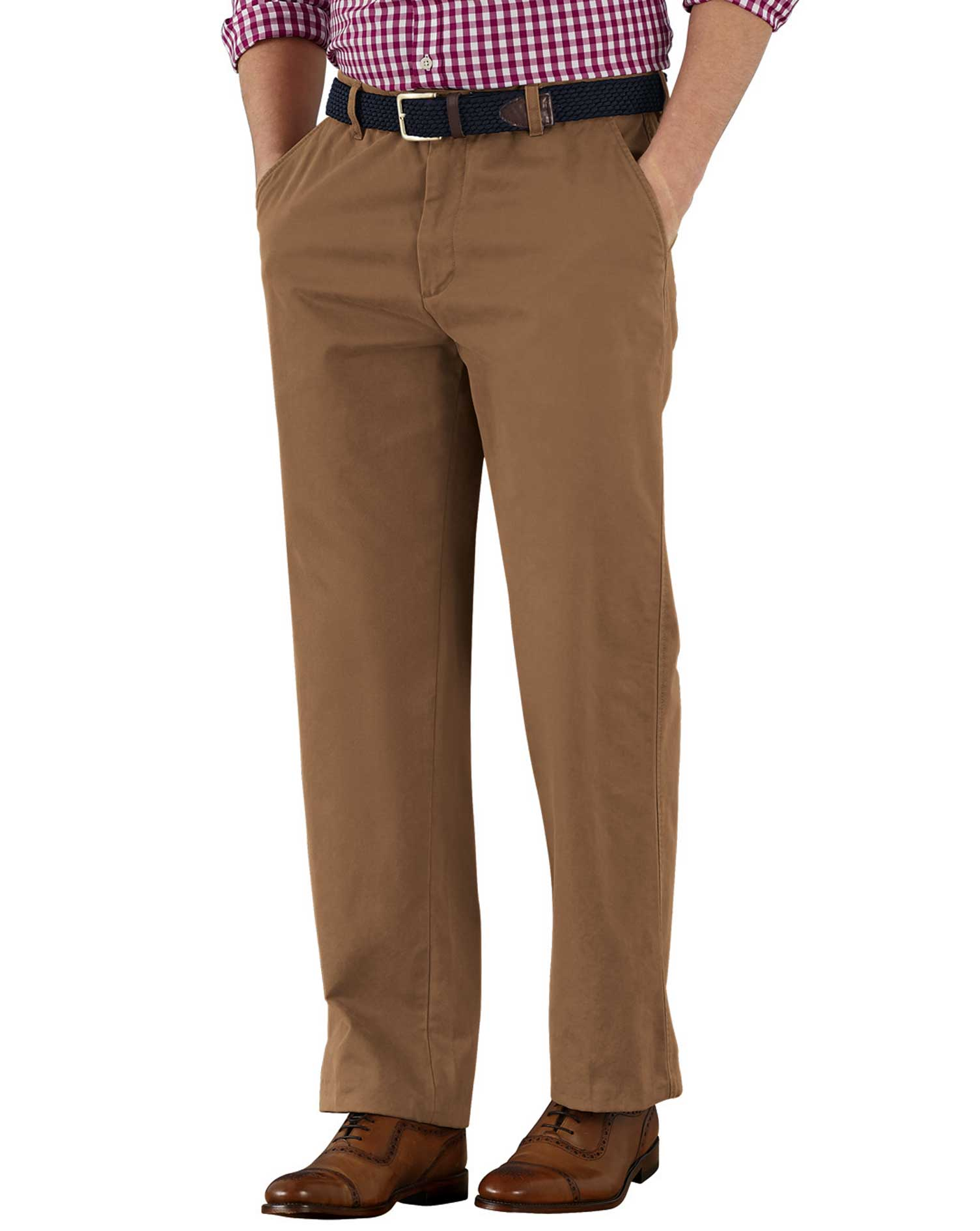 Camel Classic Fit Flat Front Cotton Chino Trousers Size W34 L29 by Charles Tyrwhitt