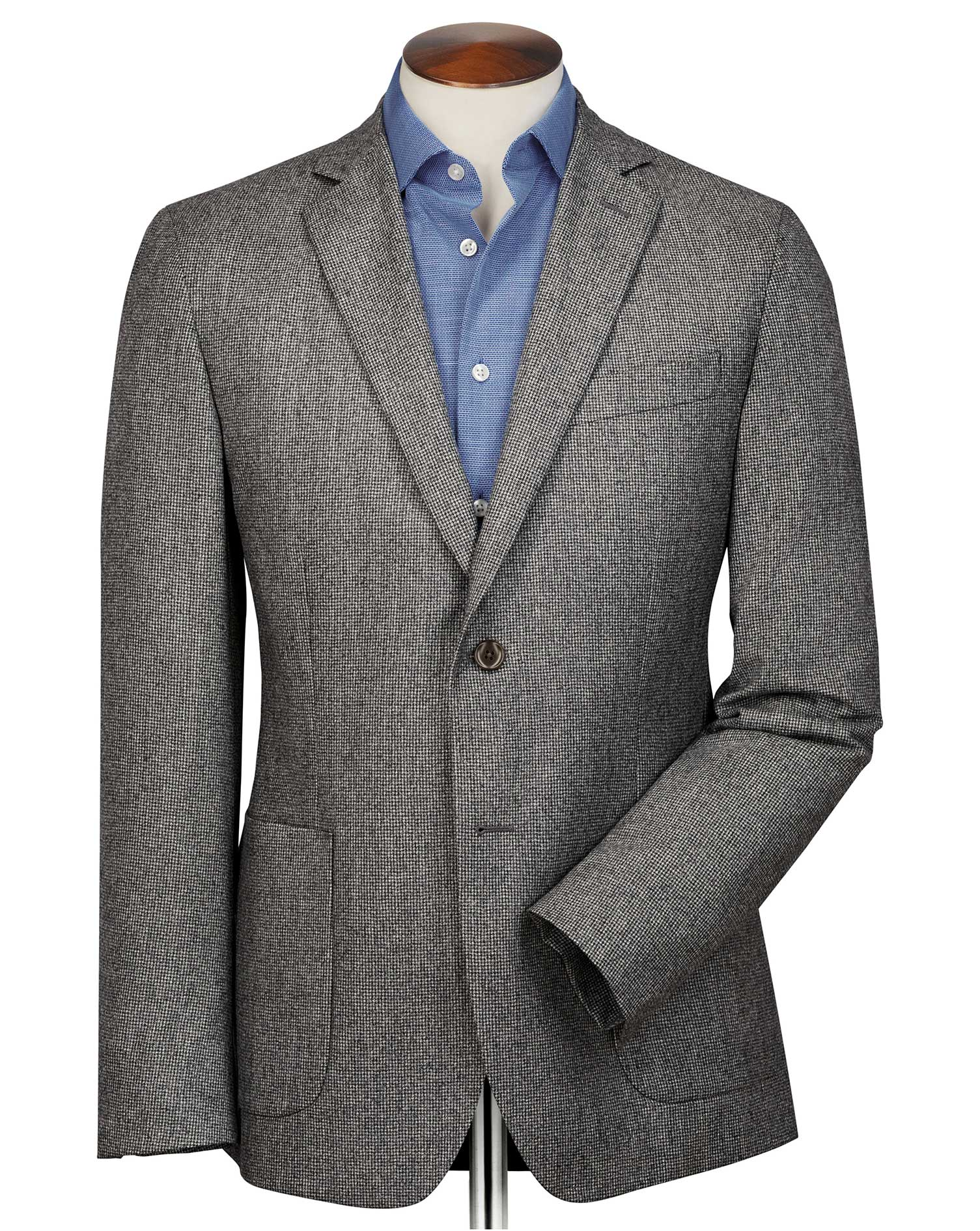 Slim Fit Grey Puppytooth Italian Wool Flannel Wool Blazer Size 46 Long by Charles Tyrwhitt