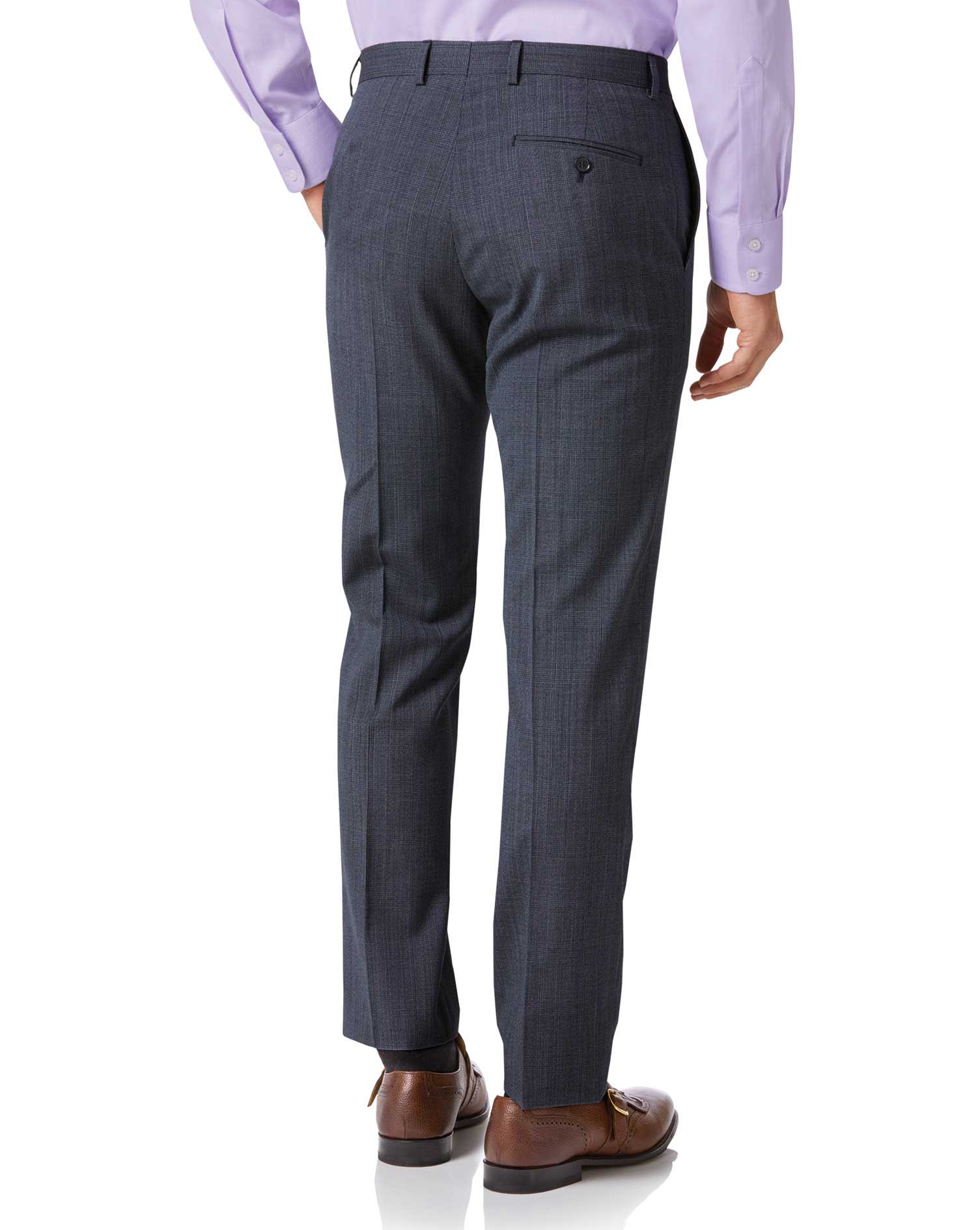 Airforce blue check slim fit twist business suit trouser