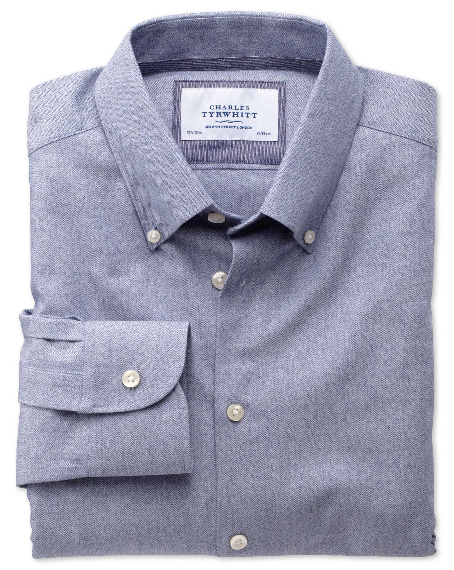 Extra Slim Fit Button-Down Collar Business Casual Blue Formal Shirt Single Cuff Size 16.5/34 by Char