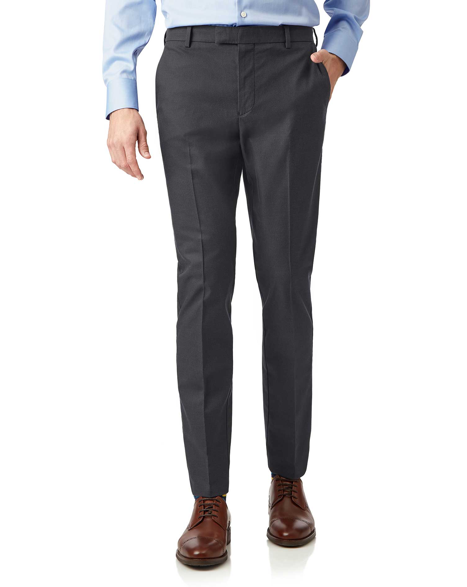 Cotton Charcoal Non-Iron Stretch Textured Trousers