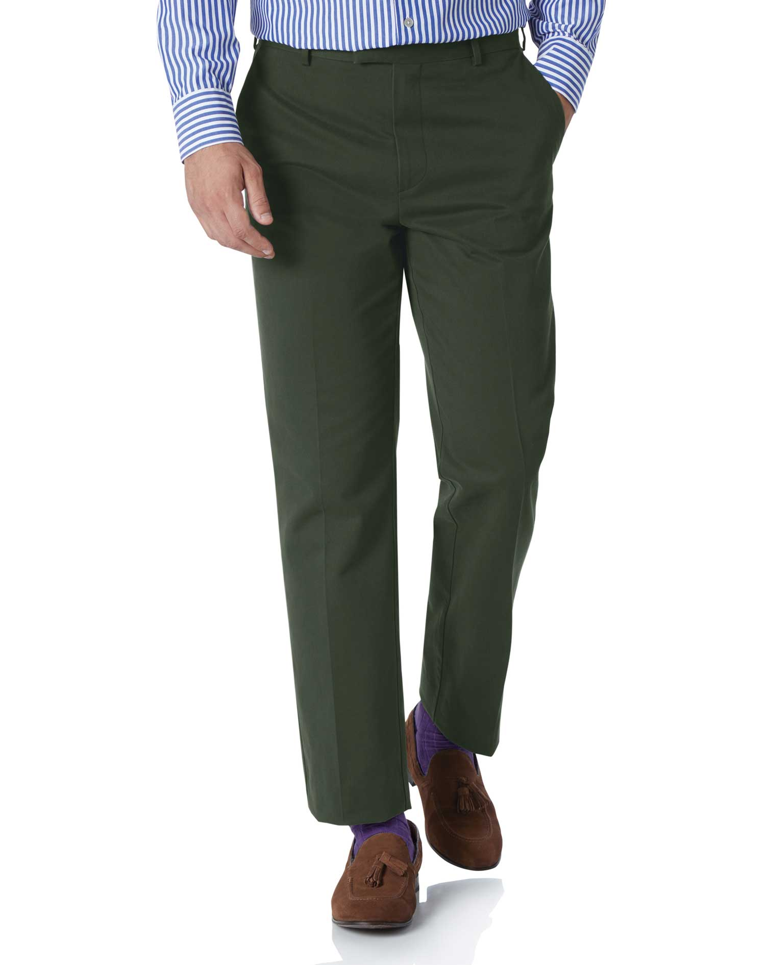 Dark Green Classic Fit Flat Front Non-Iron Cotton Chino Trousers Size W32 L32 by Charles Tyrwhitt
