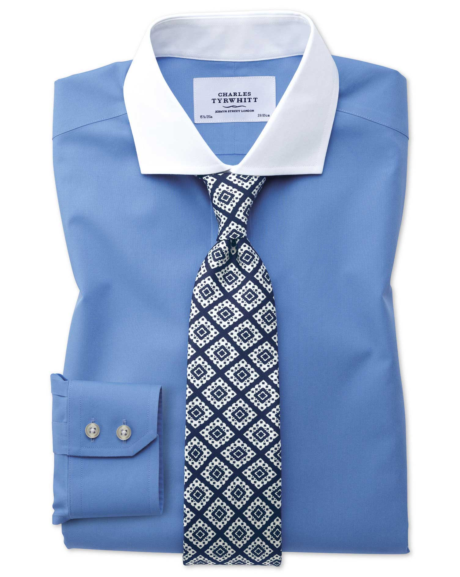 Extra Slim Fit Spread Collar Non Iron Winchester Blue Shirt