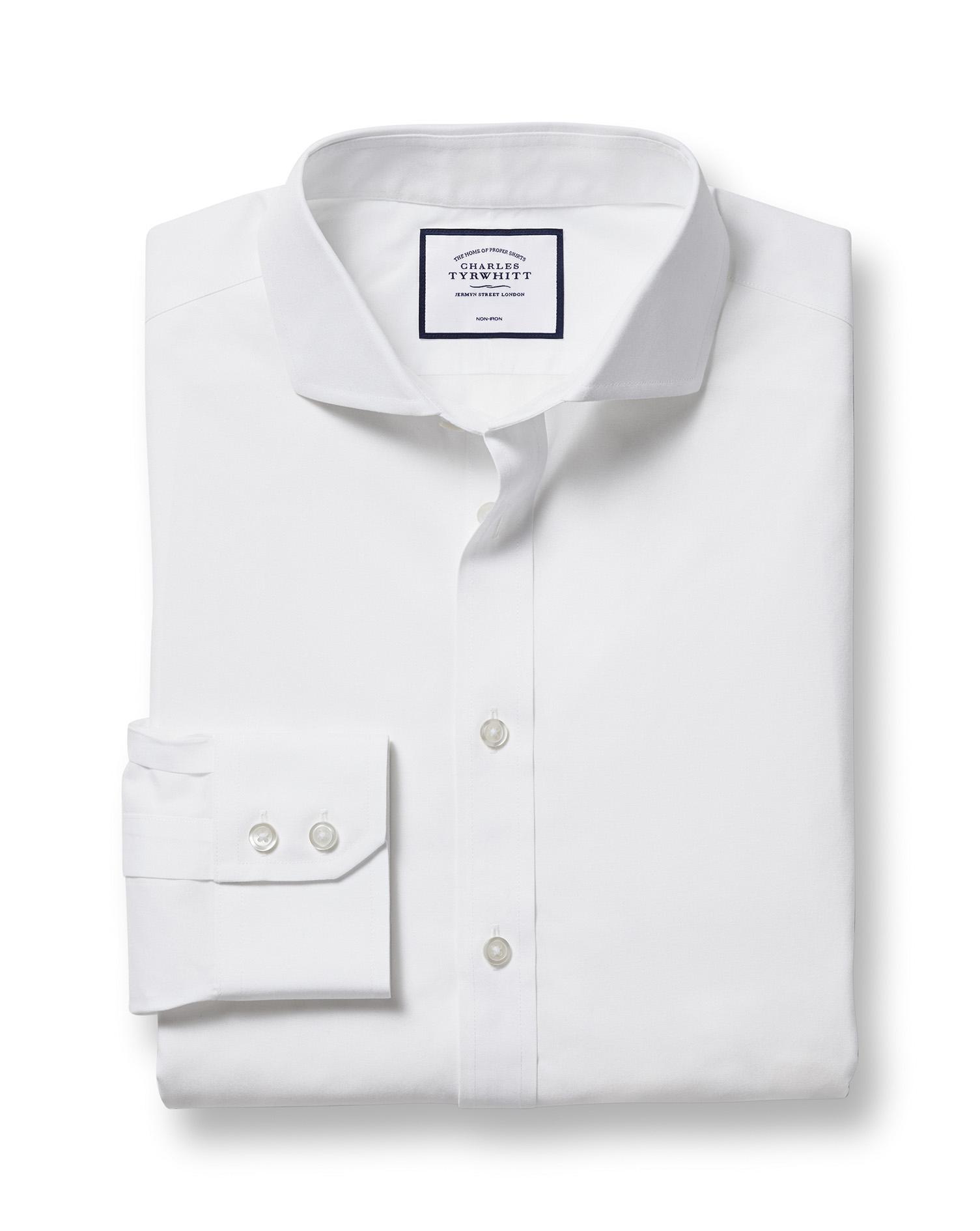 Classic Fit White Non-Iron Poplin Cutaway Collar Cotton Formal Shirt Single Cuff Size 17.5/35 by Cha