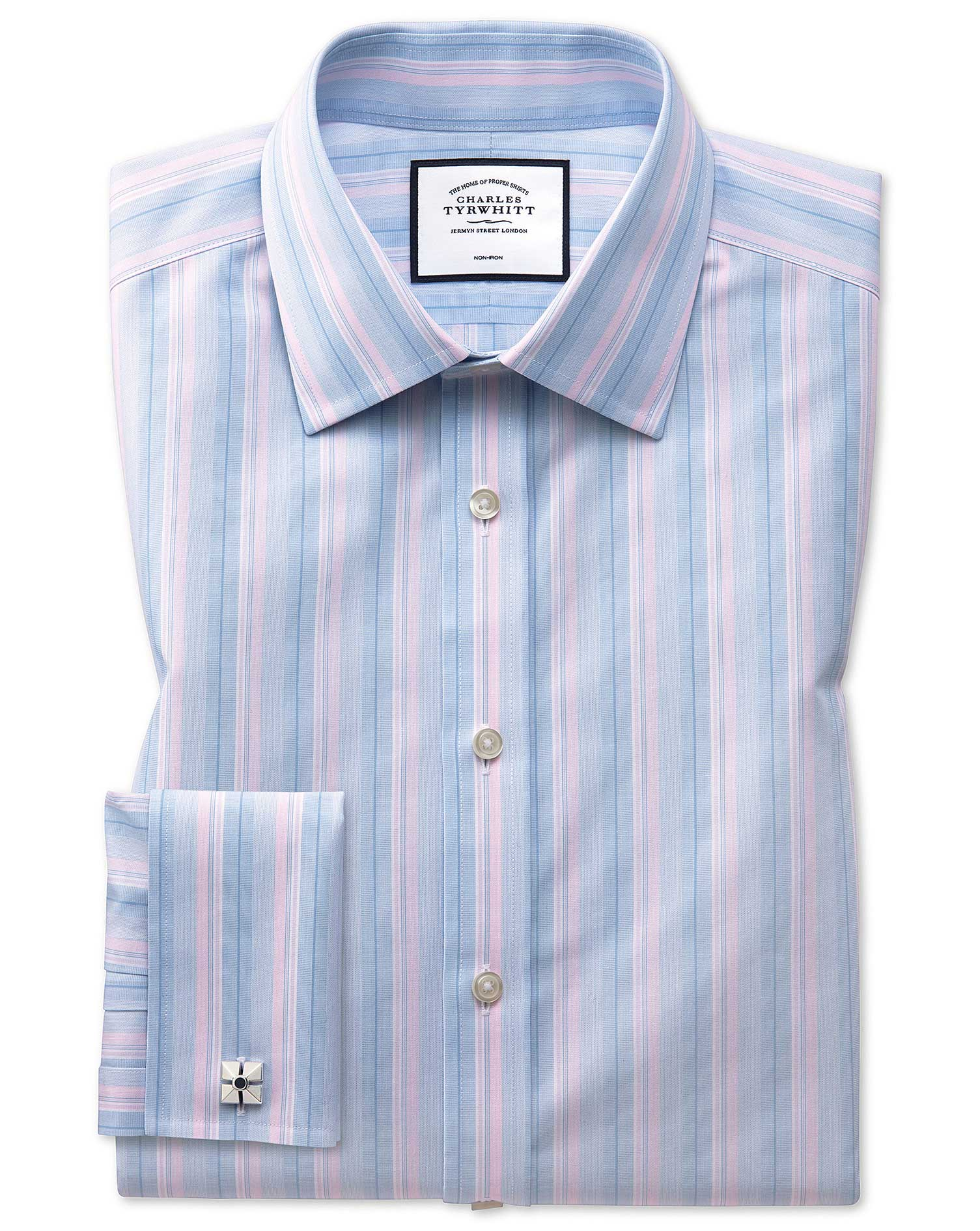 Extra Slim Fit Non-Iron Pink and Blue Multi Stripe Cotton Formal Shirt Double Cuff Size 16.5/35 by C