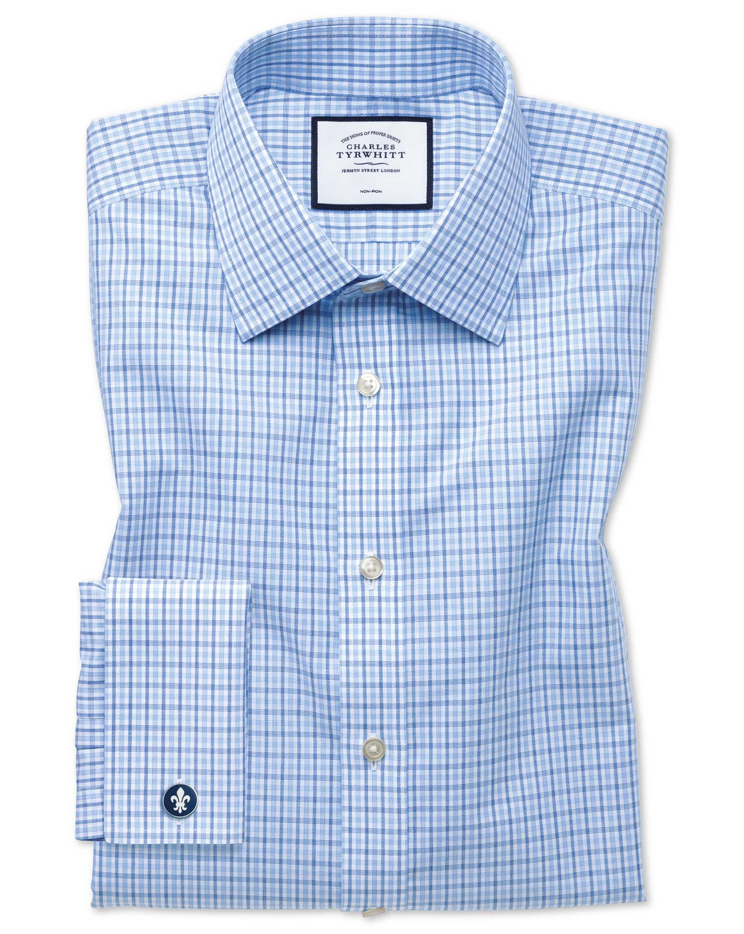 Slim Fit Non-Iron Poplin Blue and Sky Blue Cotton Formal Shirt Double Cuff Size 18/35 by Charles Tyr