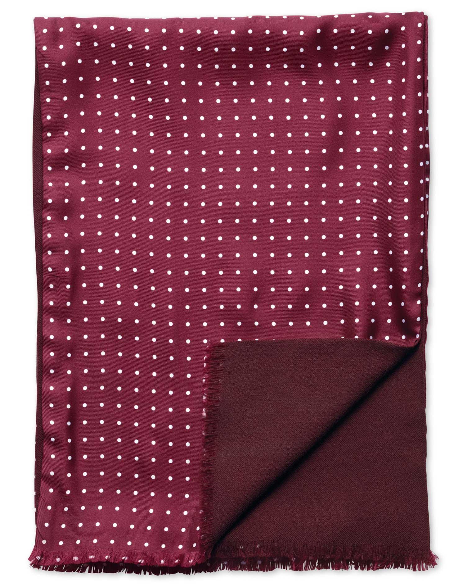 Burgundy Spot Printed Silk Scarf Size OSFA by Charles Tyrwhitt