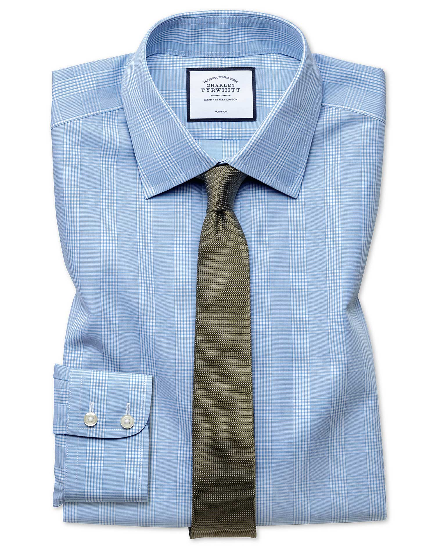 Extra Slim Fit Non-Iron Prince Of Wales Sky Blue Cotton Formal Shirt Single Cuff Size 17/37 by Charl