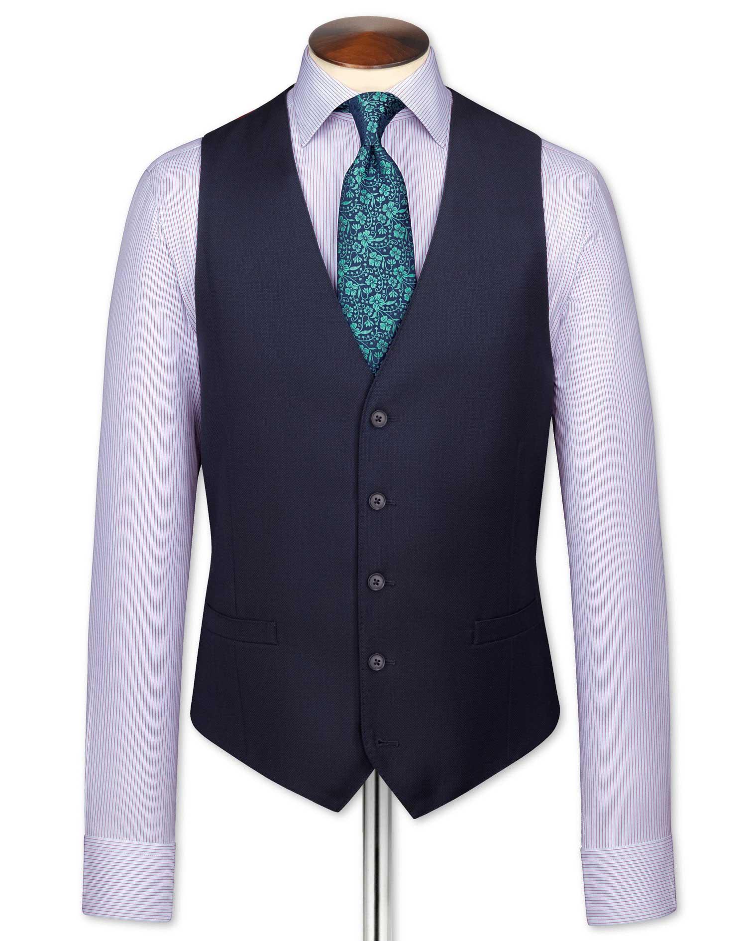 Navy Adjustable Fit Birdseye Travel Suit Wool Waistcoat Size w46 by Charles Tyrwhitt