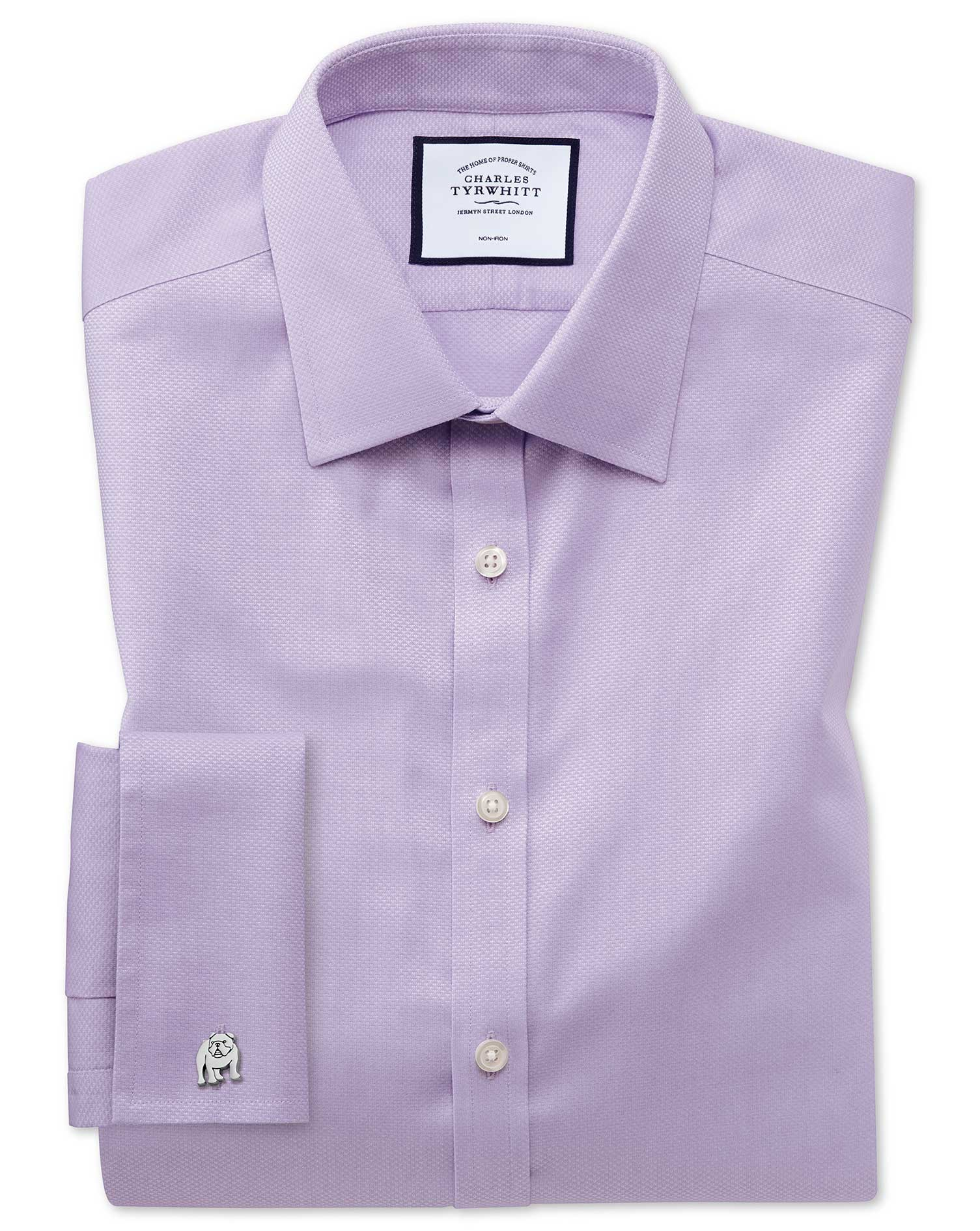 Super Slim Fit Non-Iron Lilac Triangle Weave Cotton Formal Shirt Single Cuff Size 15.5/34 by Charles