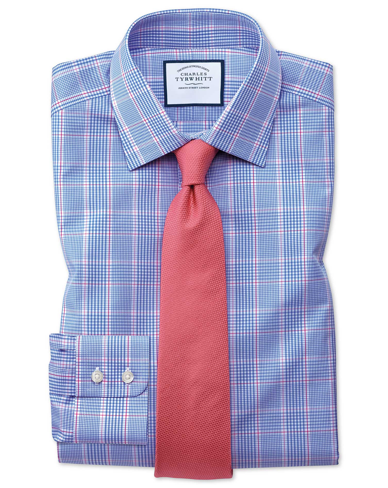 Slim Fit Prince Of Wales Check Blue and Pink Cotton Formal Shirt Single Cuff Size 15/35 by Charles T