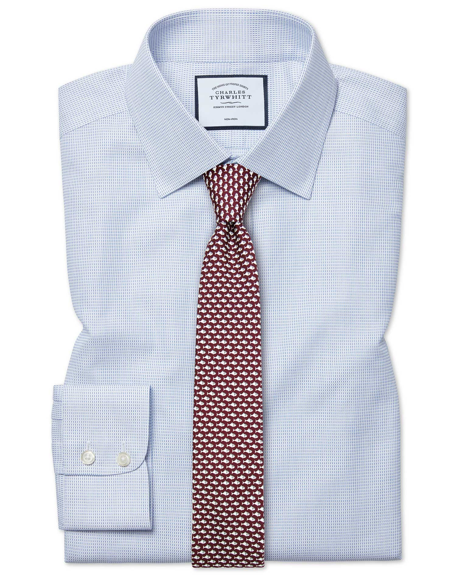 Cotton Extra Slim Fit Non-Iron Dash Weave Blue Shirt
