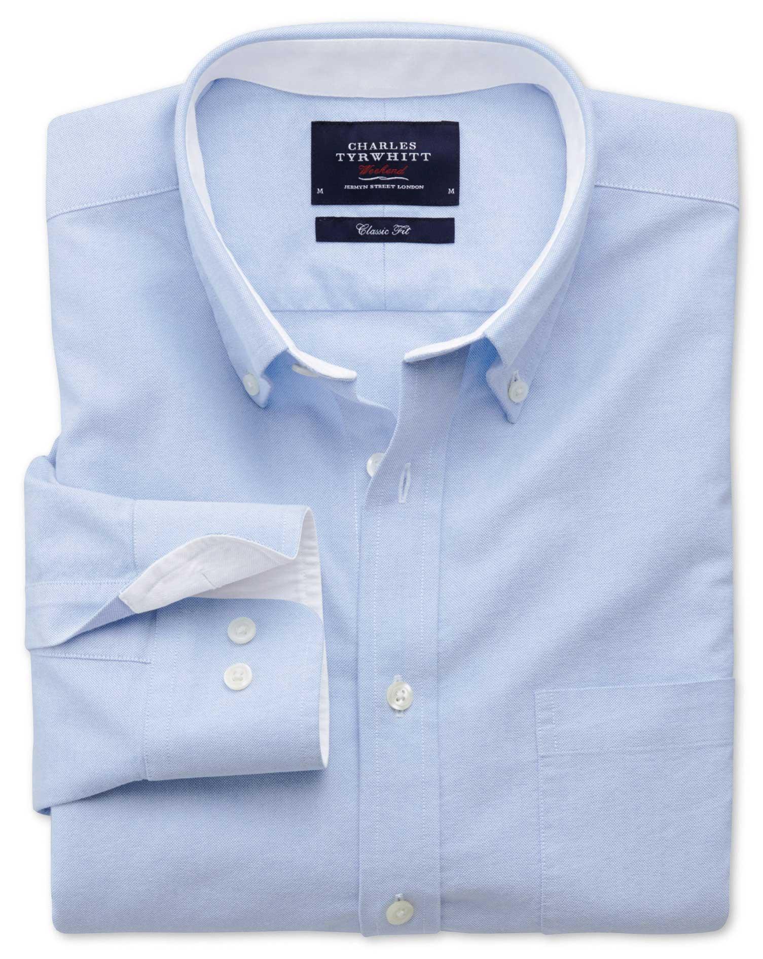Slim Fit Sky Blue Washed Oxford Cotton Shirt Single Cuff Size XXL by Charles Tyrwhitt