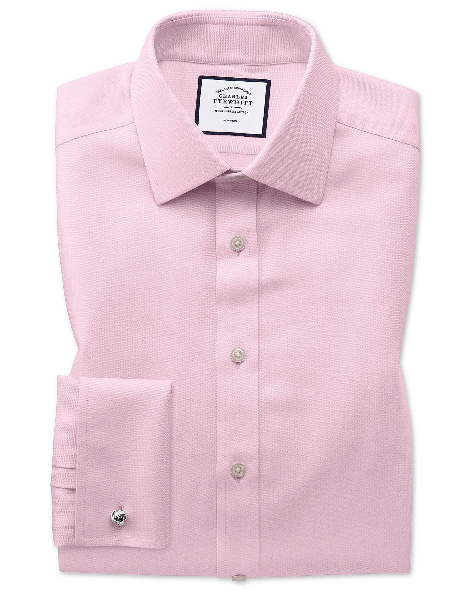 Classic Fit Non-Iron Pink Arrow Weave Cotton Formal Shirt Single Cuff Size 16/33 by Charles Tyrwhitt