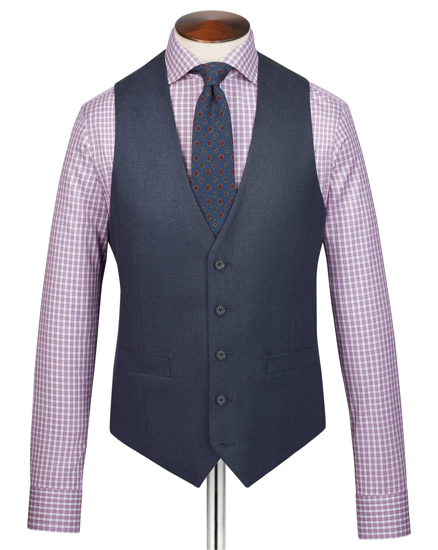 Image of Charles Tyrwhitt Airforce Blue Adjustable Fit Flannel Business Suit Wool Waistcoat Size w36 by Charles Tyrwhitt